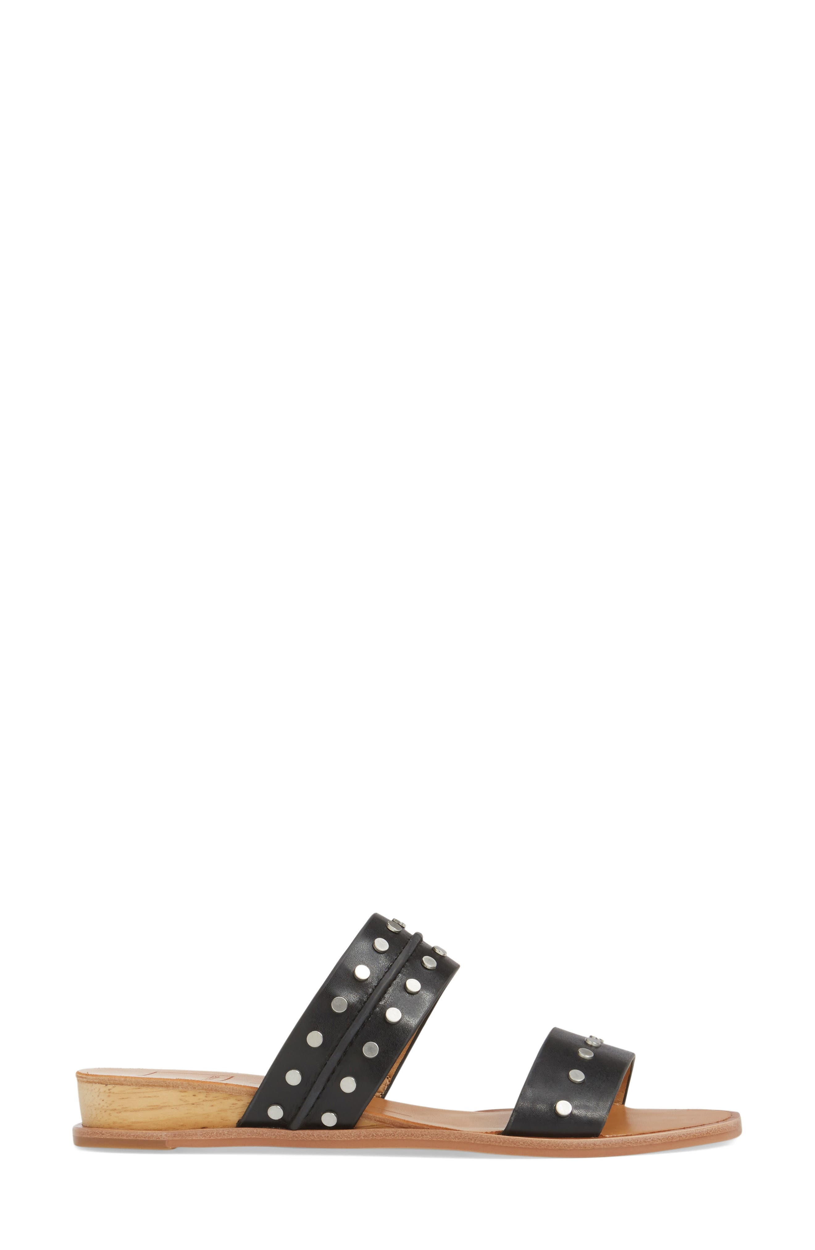 Pacey Studded Wedge Sandal,                             Alternate thumbnail 3, color,                             001