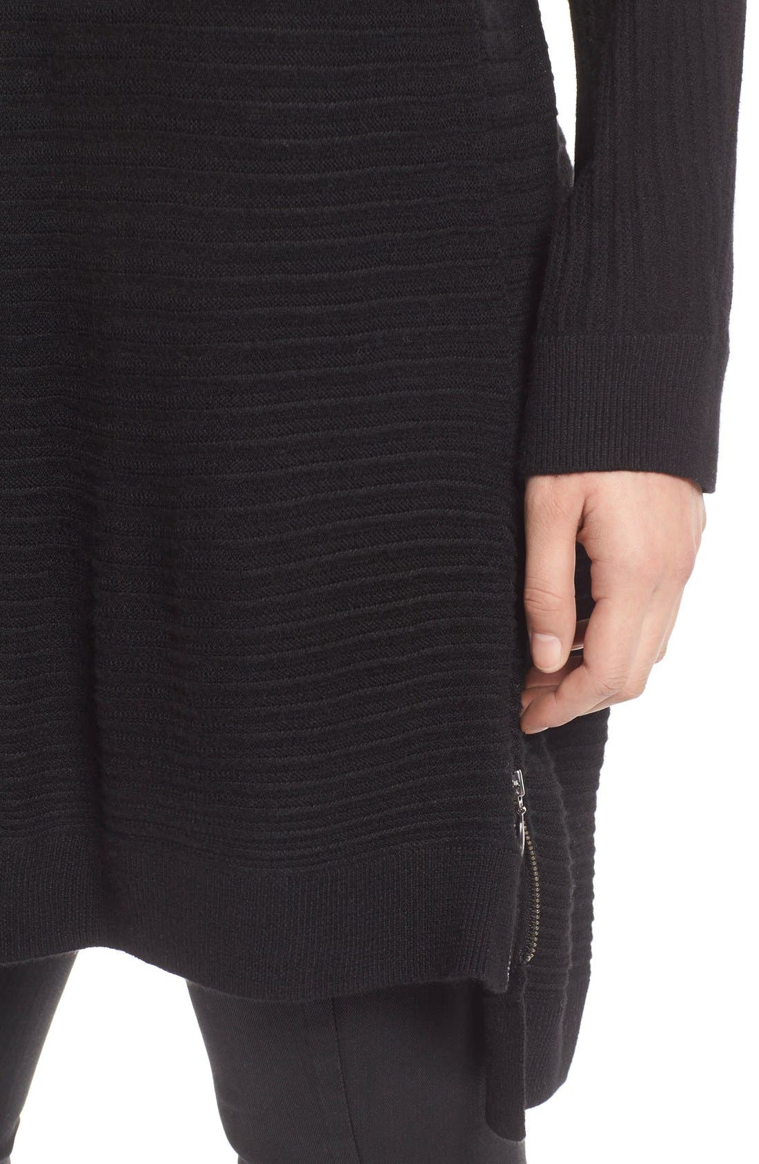 Side Zip Tunic Sweater,                             Alternate thumbnail 5, color,                             001