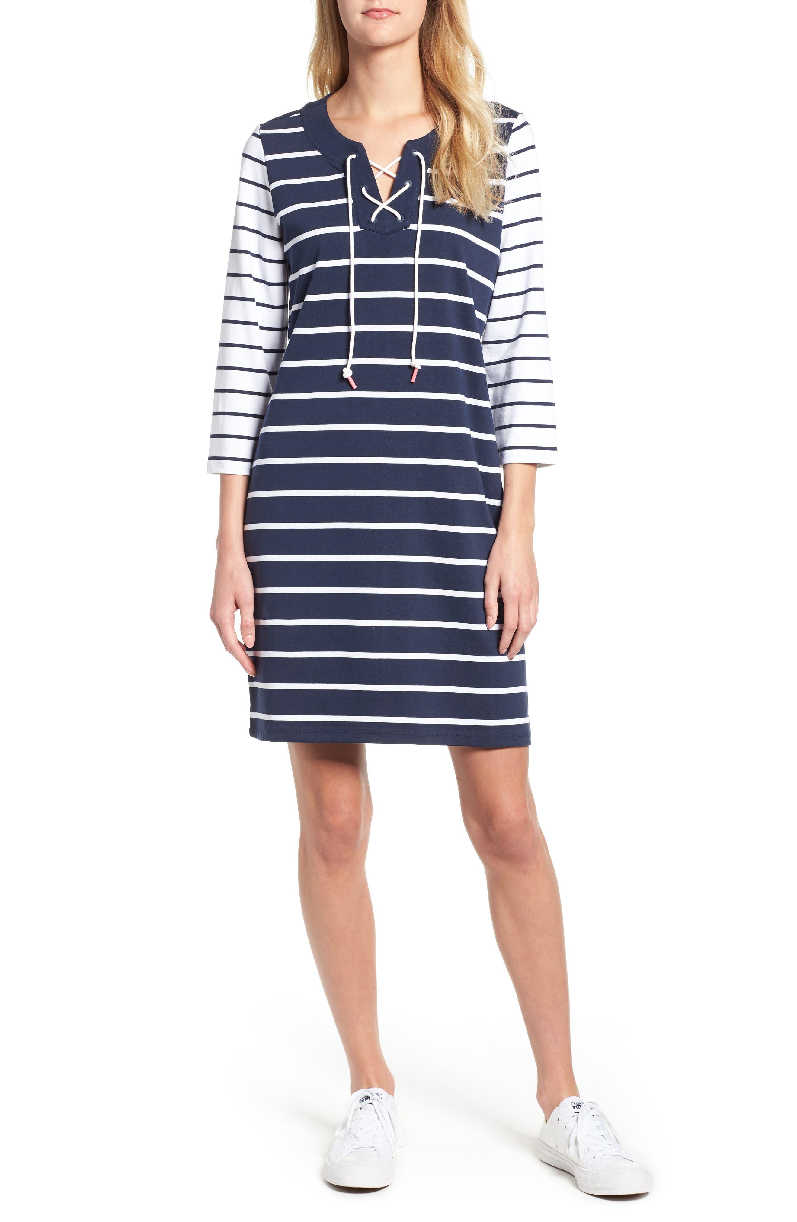 Tommy Bahama Floricita Lace-Up Stripe Shift Dress, Blue