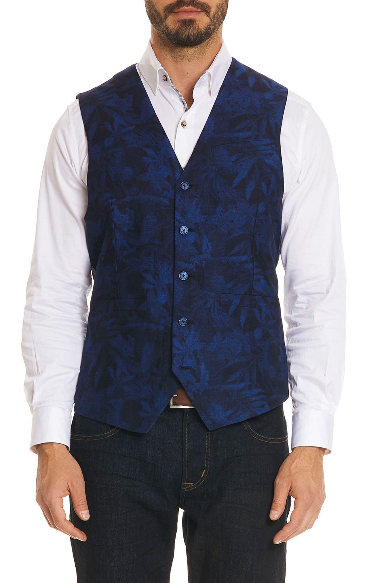 Nunez Regular Fit Linen & Cotton Vest,                         Main,                         color, 400