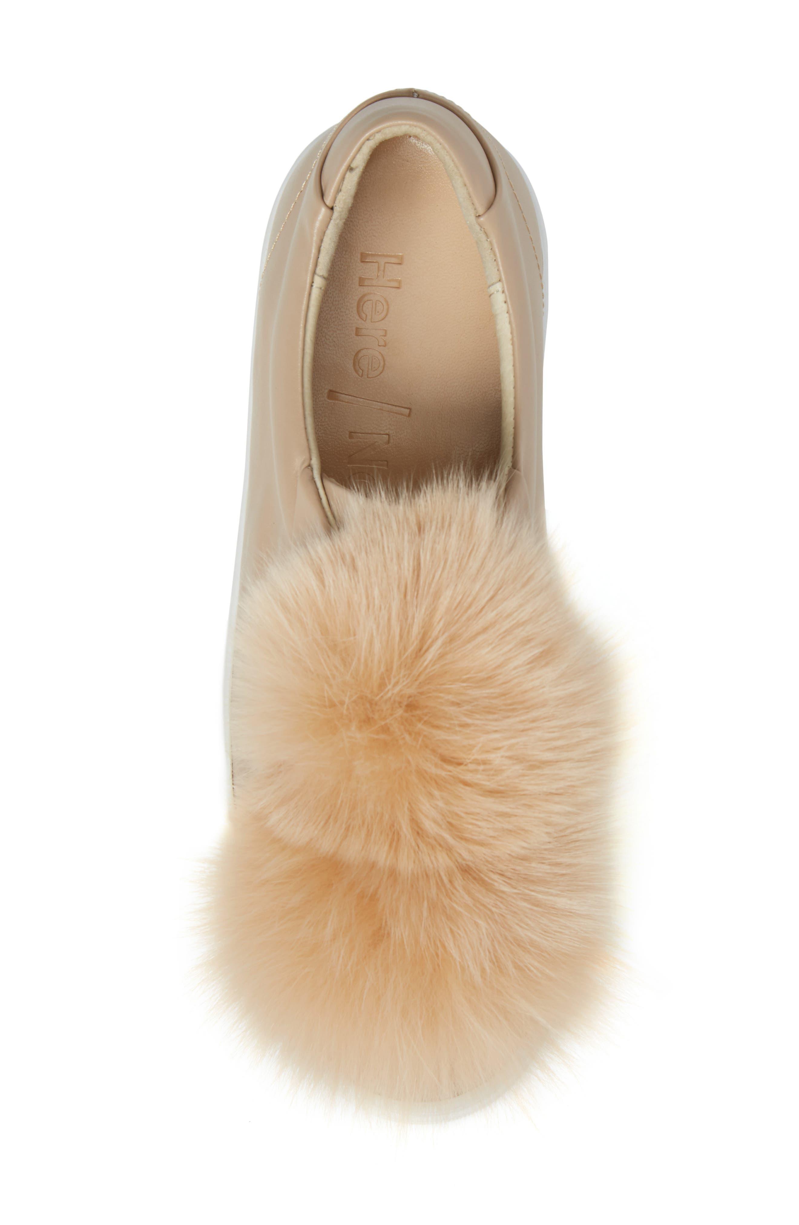 Arian Genuine Fox Fur Trim Sneaker,                             Alternate thumbnail 5, color,                             250