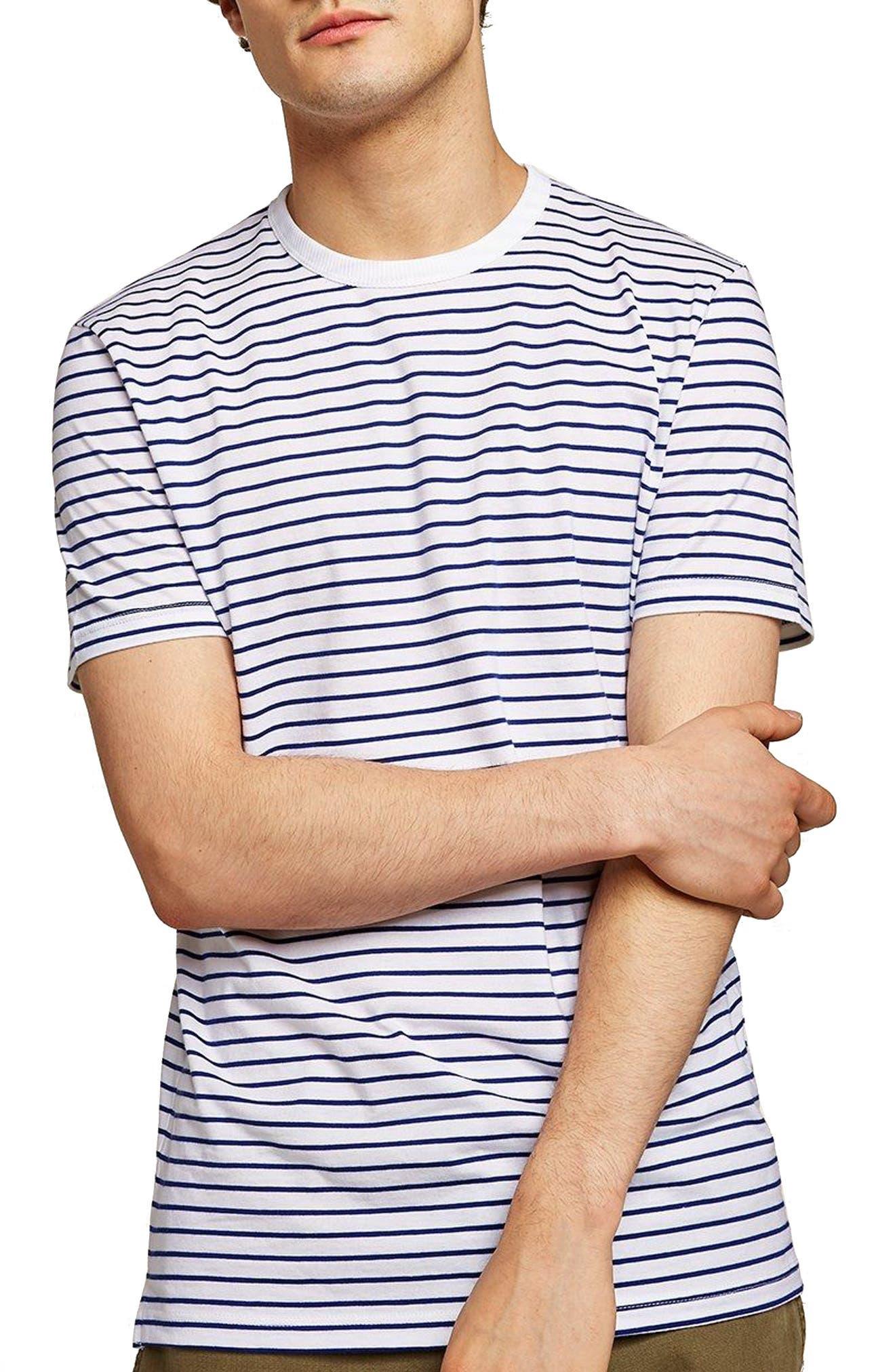 Slim Fit Stripe T-Shirt,                             Main thumbnail 1, color,                             DARK BLUE MULTI