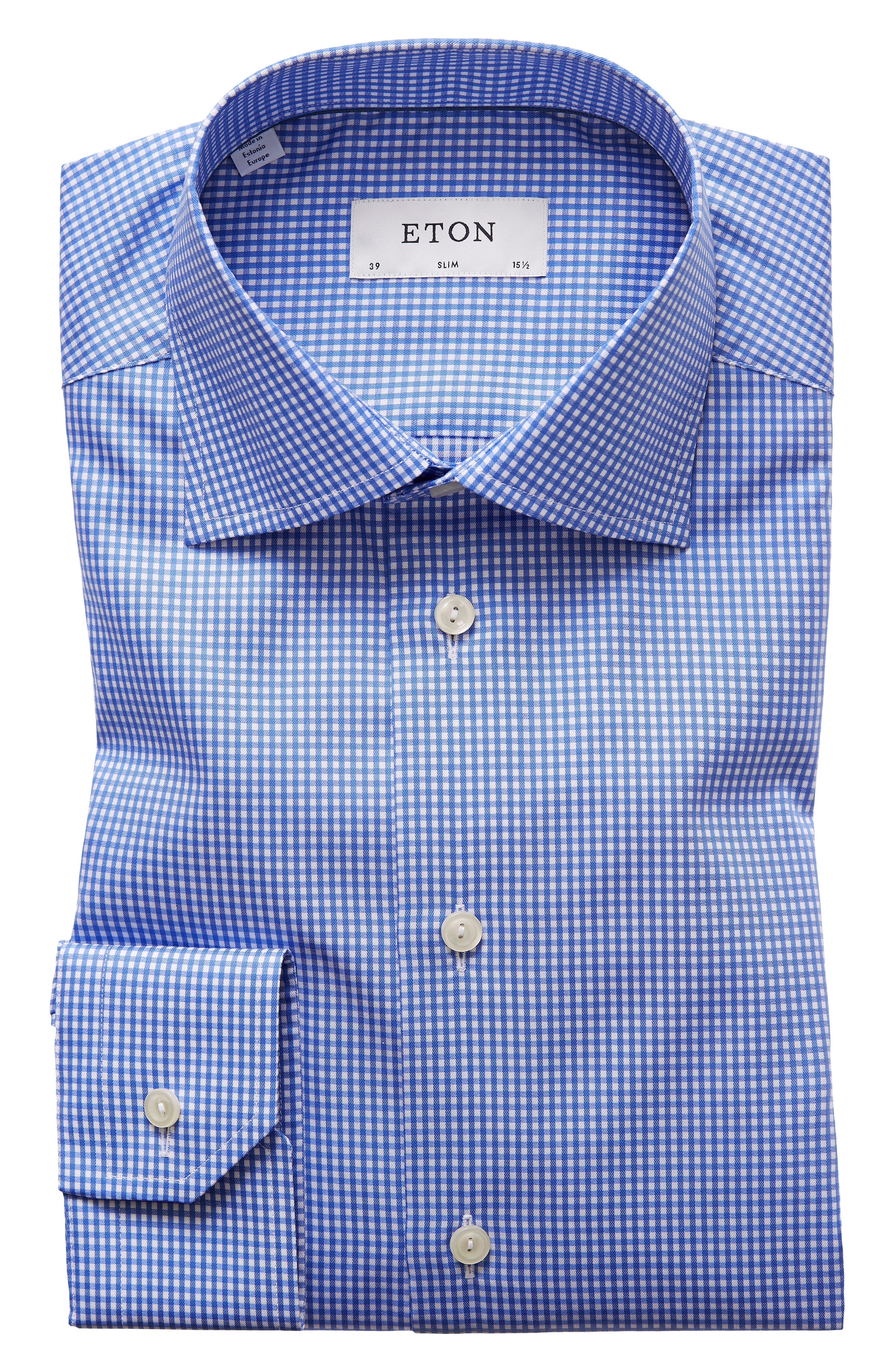 Extra Slim Fit Check Dress Shirt,                         Main,                         color, BLUE/ WHITE