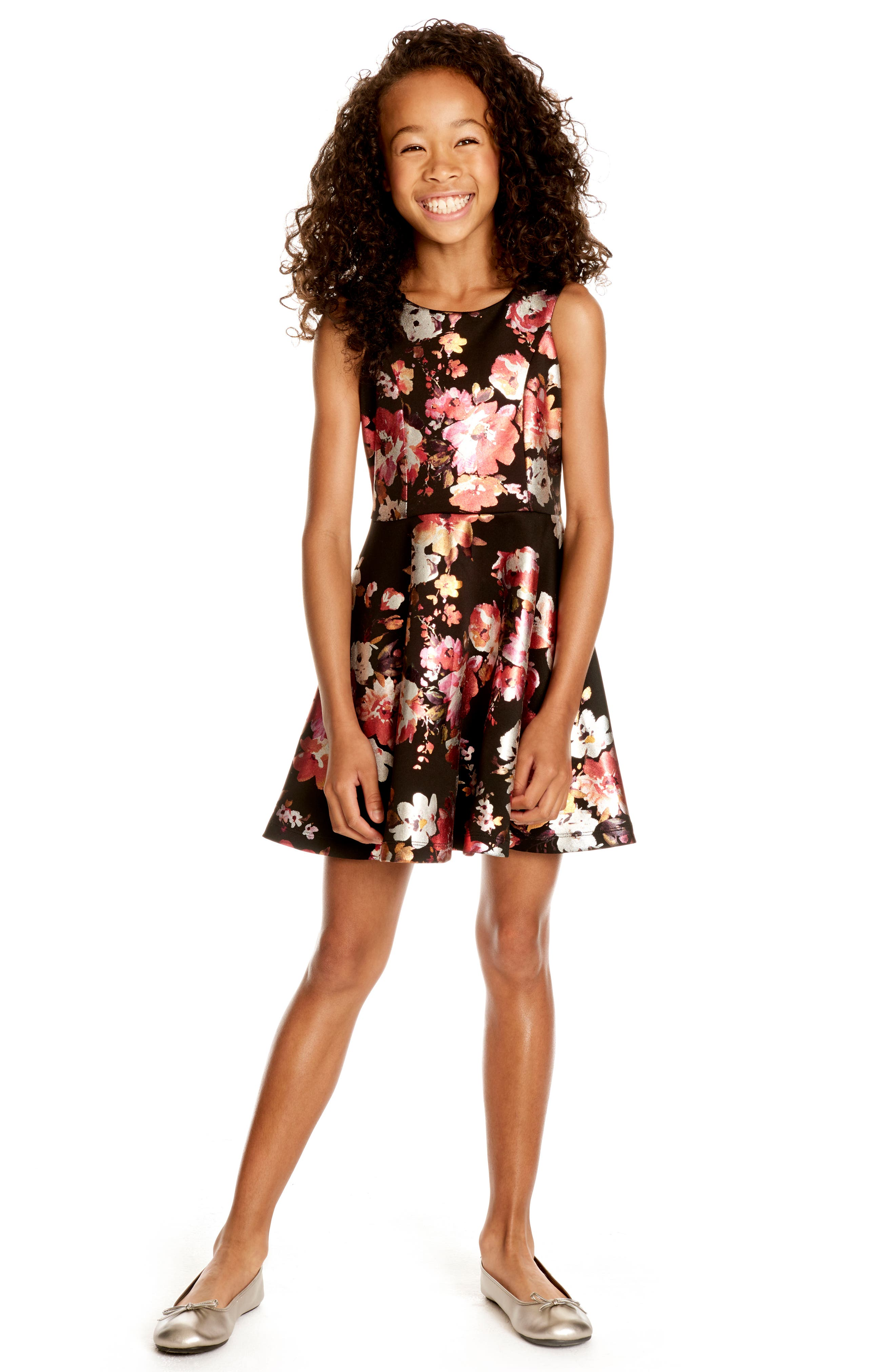 Metallic Floral Fit & Flare Dress,                             Alternate thumbnail 4, color,                             001