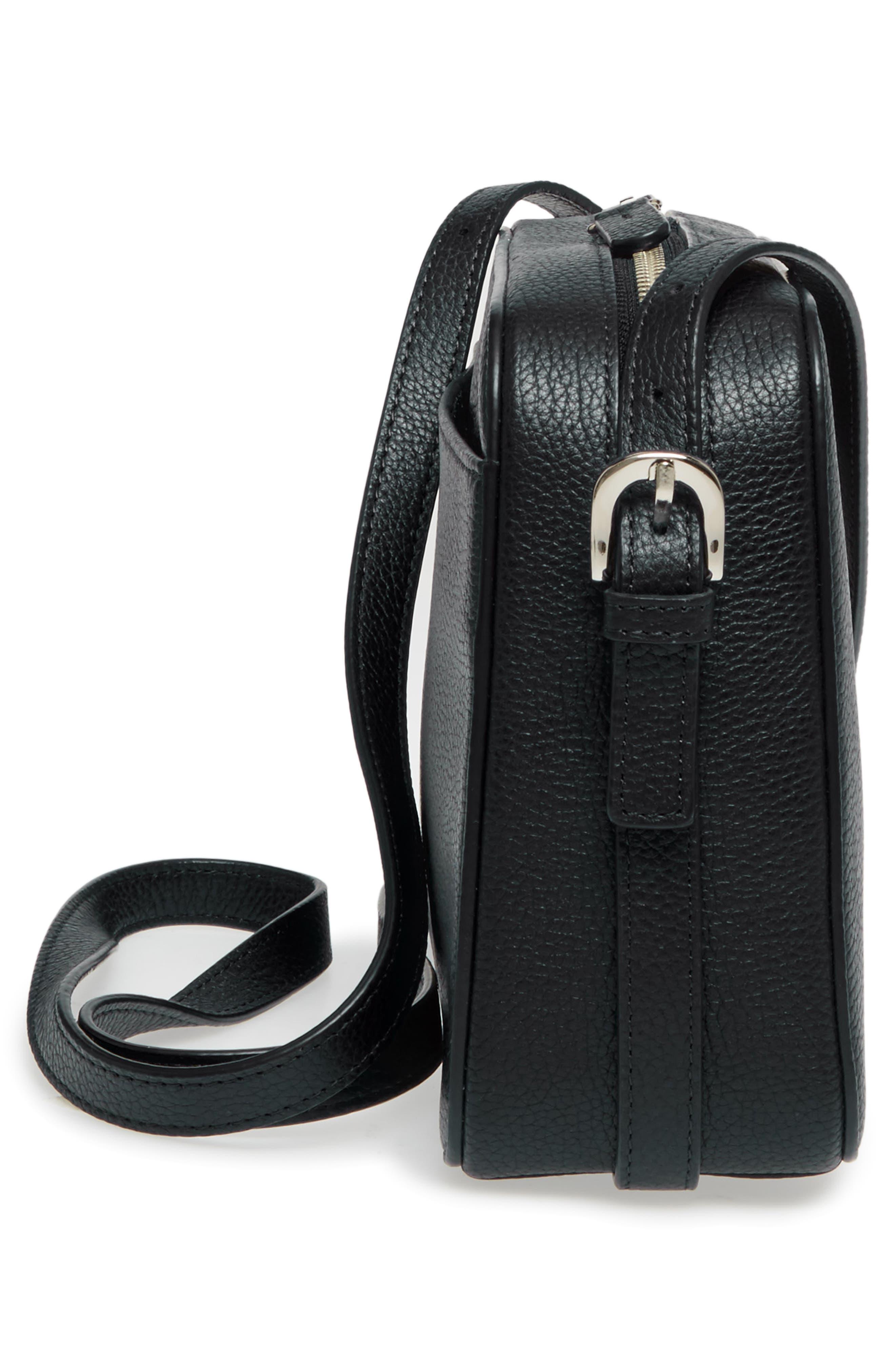 Brayden Leather Crossbody Camera Bag,                             Alternate thumbnail 5, color,                             001
