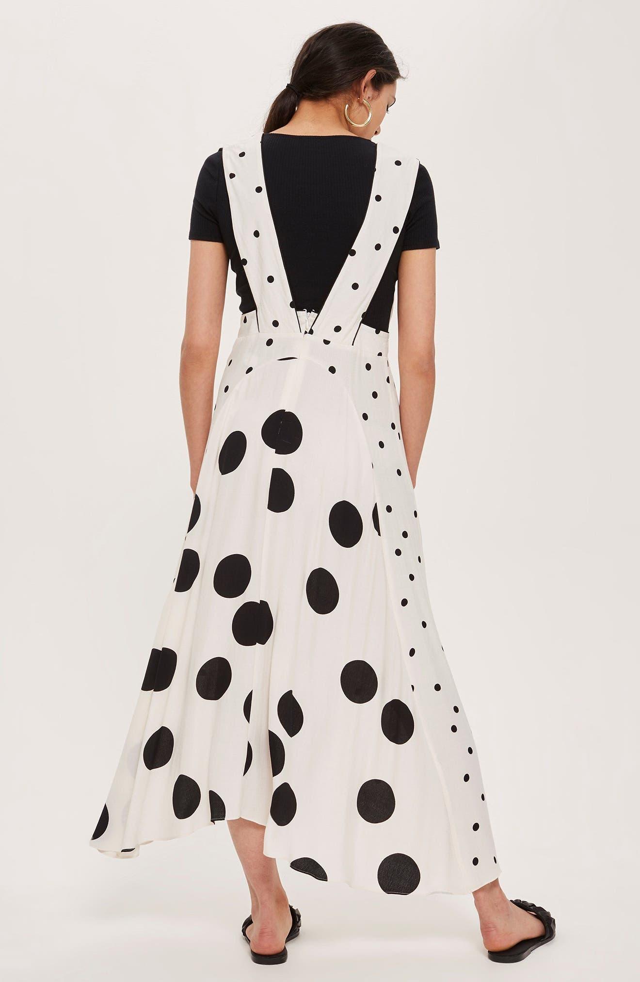 Mix Spotted Pinafore Midi Dress,                             Alternate thumbnail 6, color,
