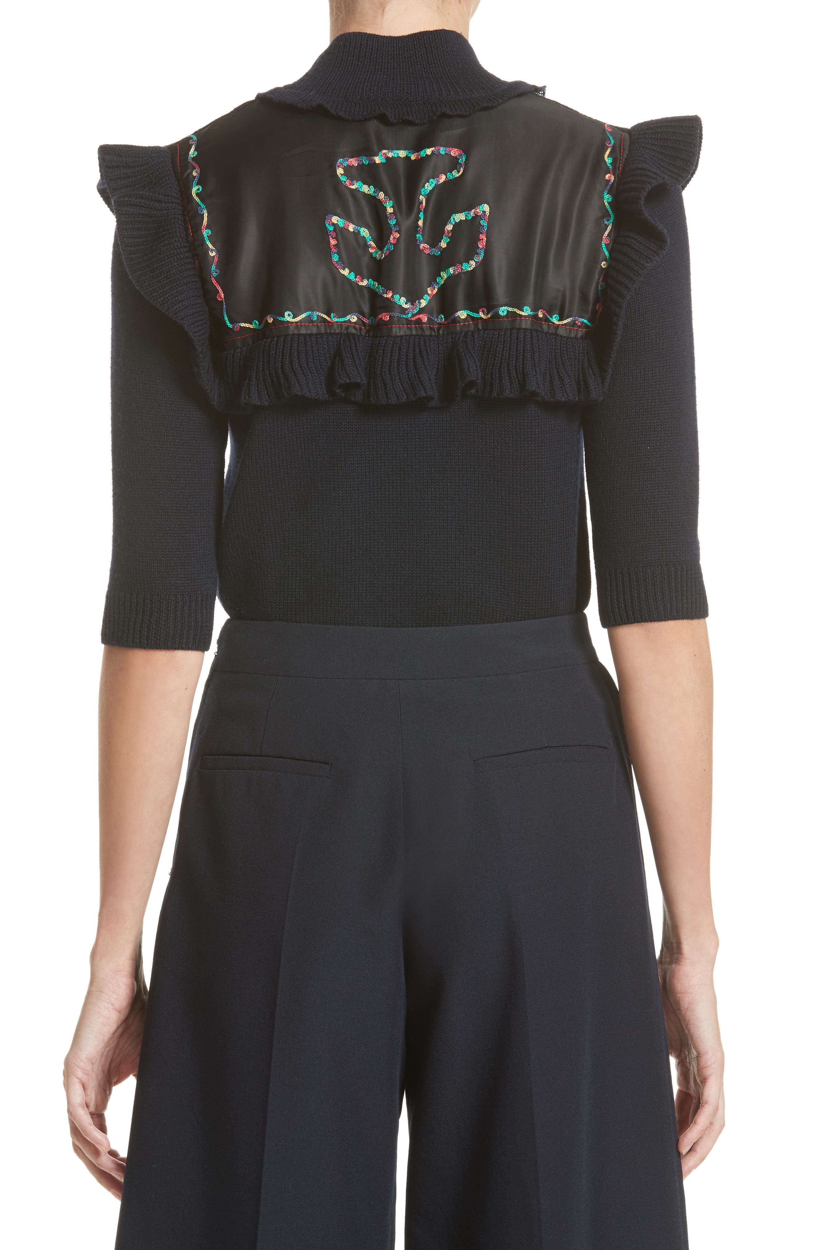 Embroidered Ruffle Wool Sweater,                             Alternate thumbnail 2, color,                             414