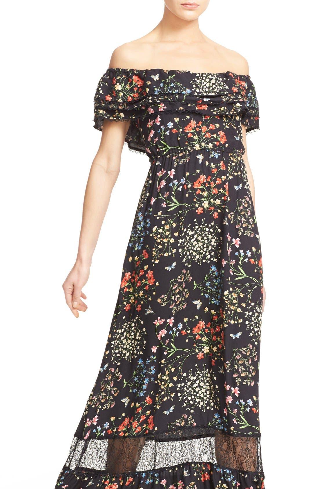 'Cheri' Floral Print Off the Shoulder Maxi Dress,                             Alternate thumbnail 6, color,                             002