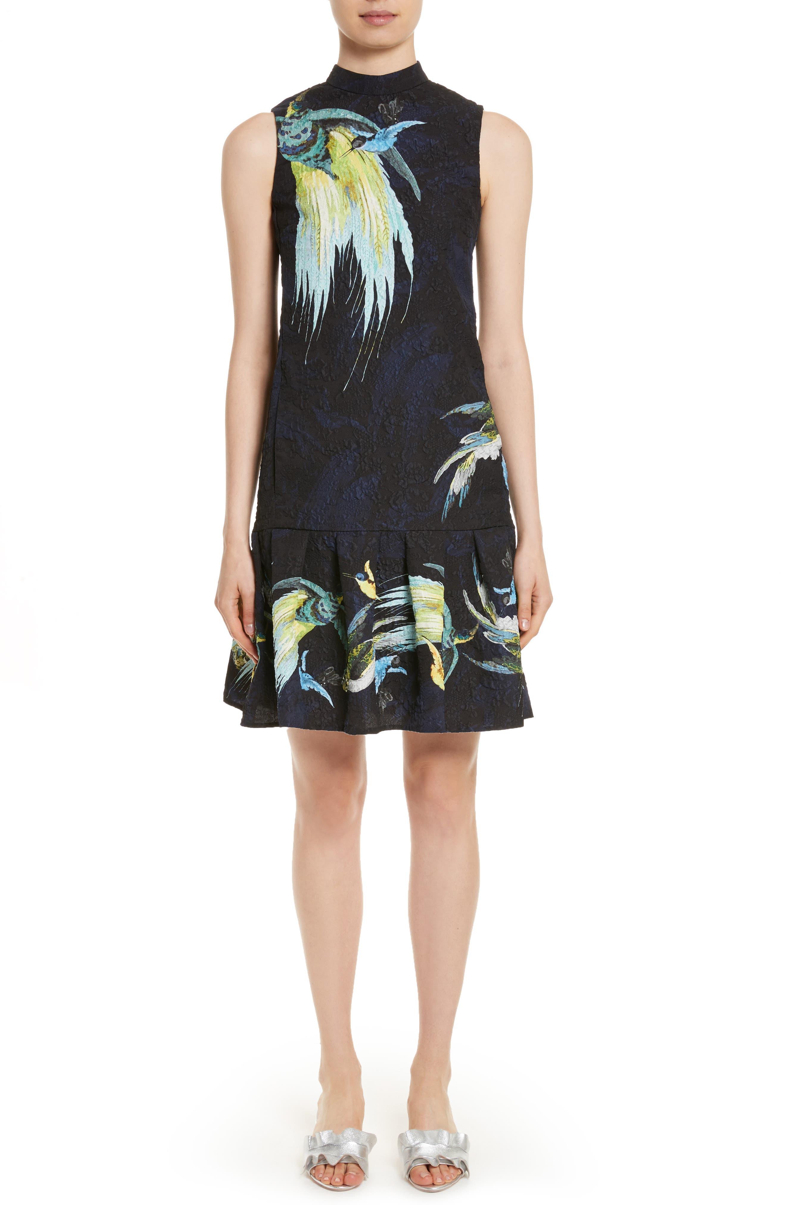 Brocade Drop Waist Ruffle Hem Dress,                             Main thumbnail 1, color,                             001