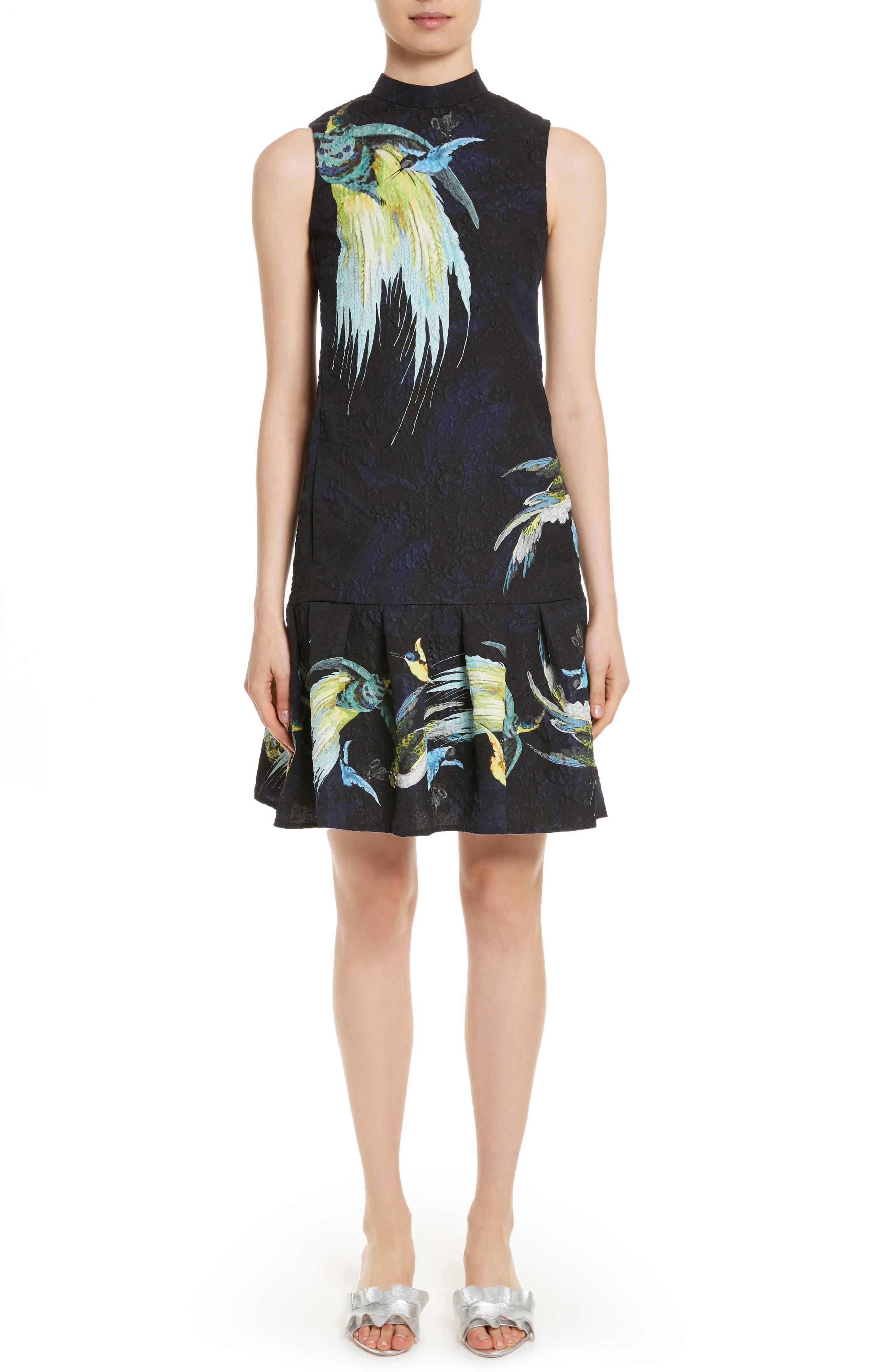 Brocade Drop Waist Ruffle Hem Dress,                         Main,                         color, 001