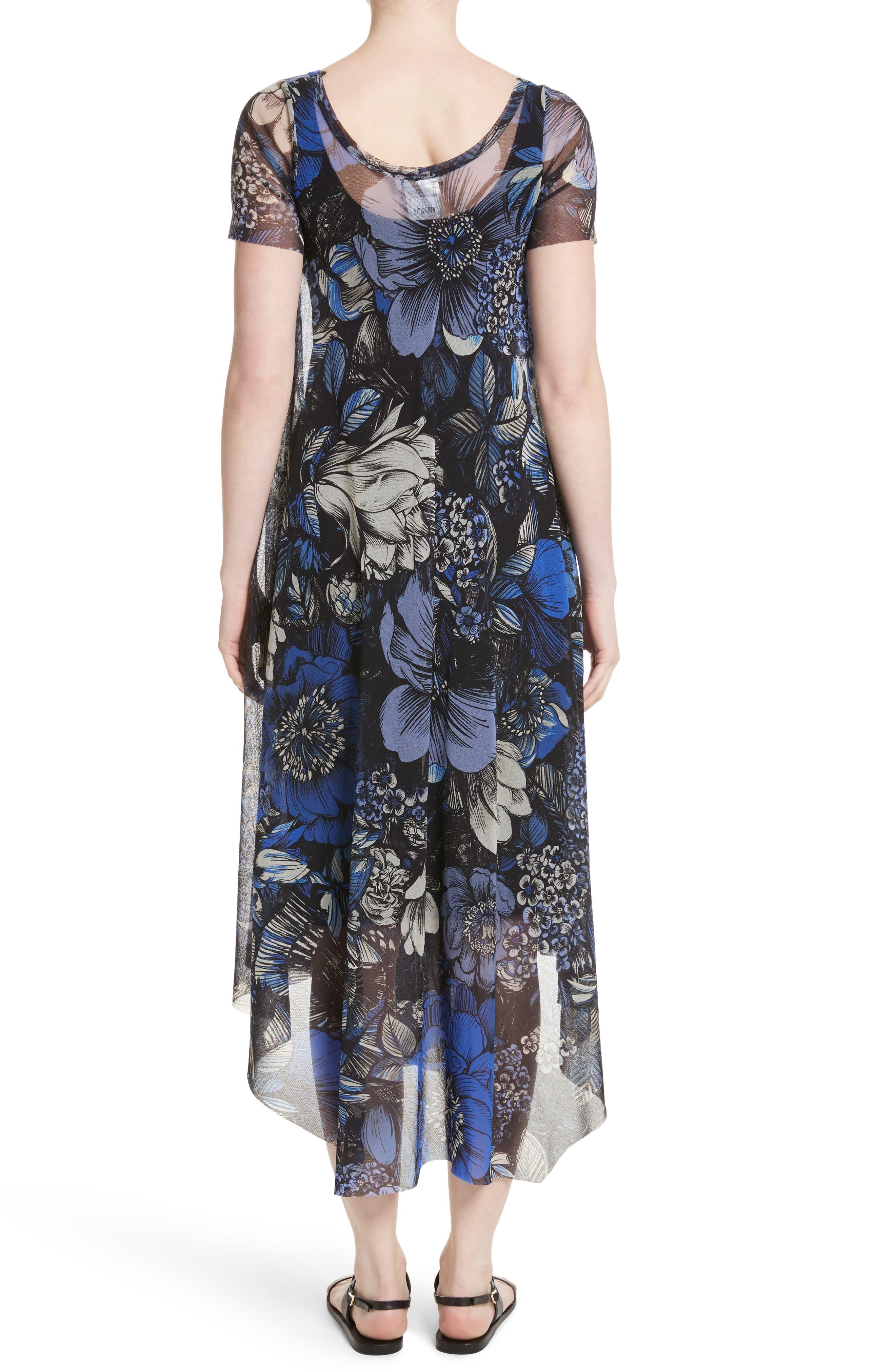 Print Tulle Handkerchief Hem Dress,                             Alternate thumbnail 2, color,                             420