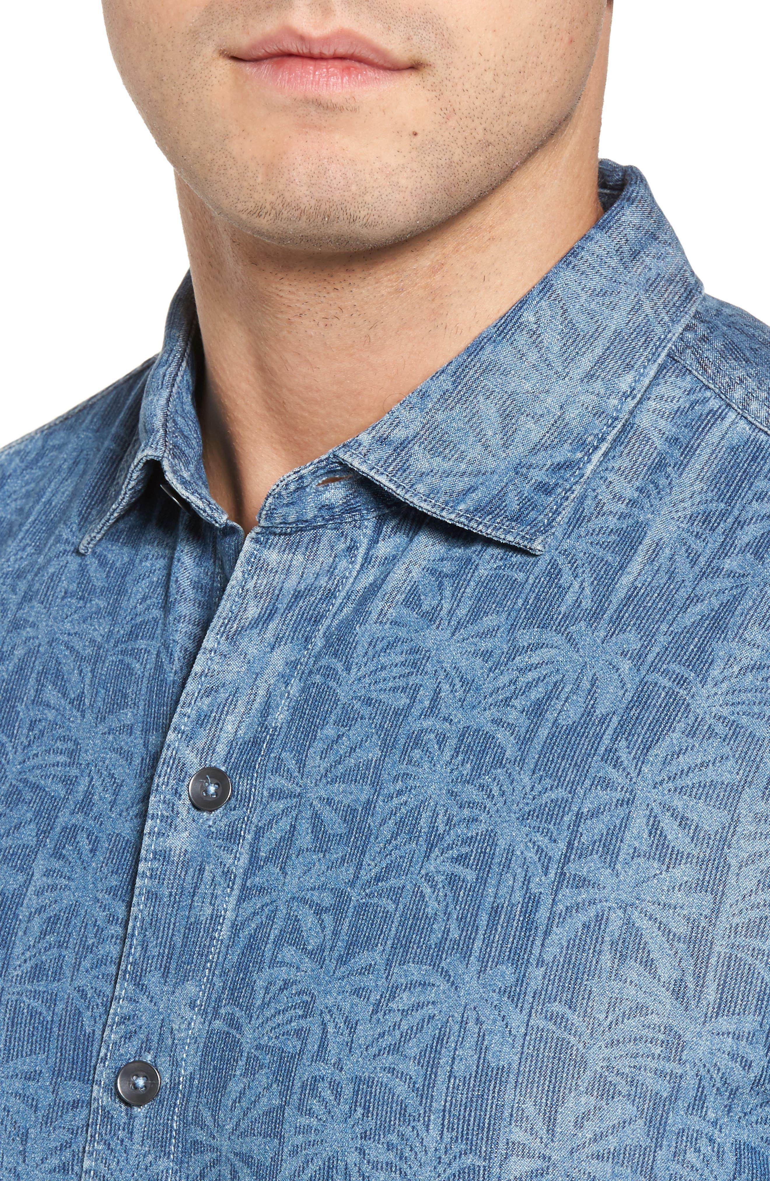 Block Party Palms Chambray Sport Shirt,                             Alternate thumbnail 4, color,                             400