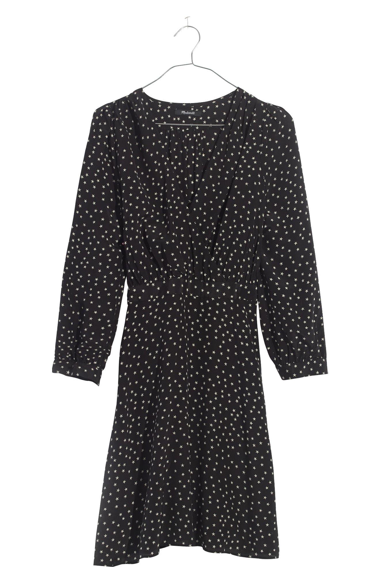 Star Print Silk A-Line Dress,                             Alternate thumbnail 4, color,                             010