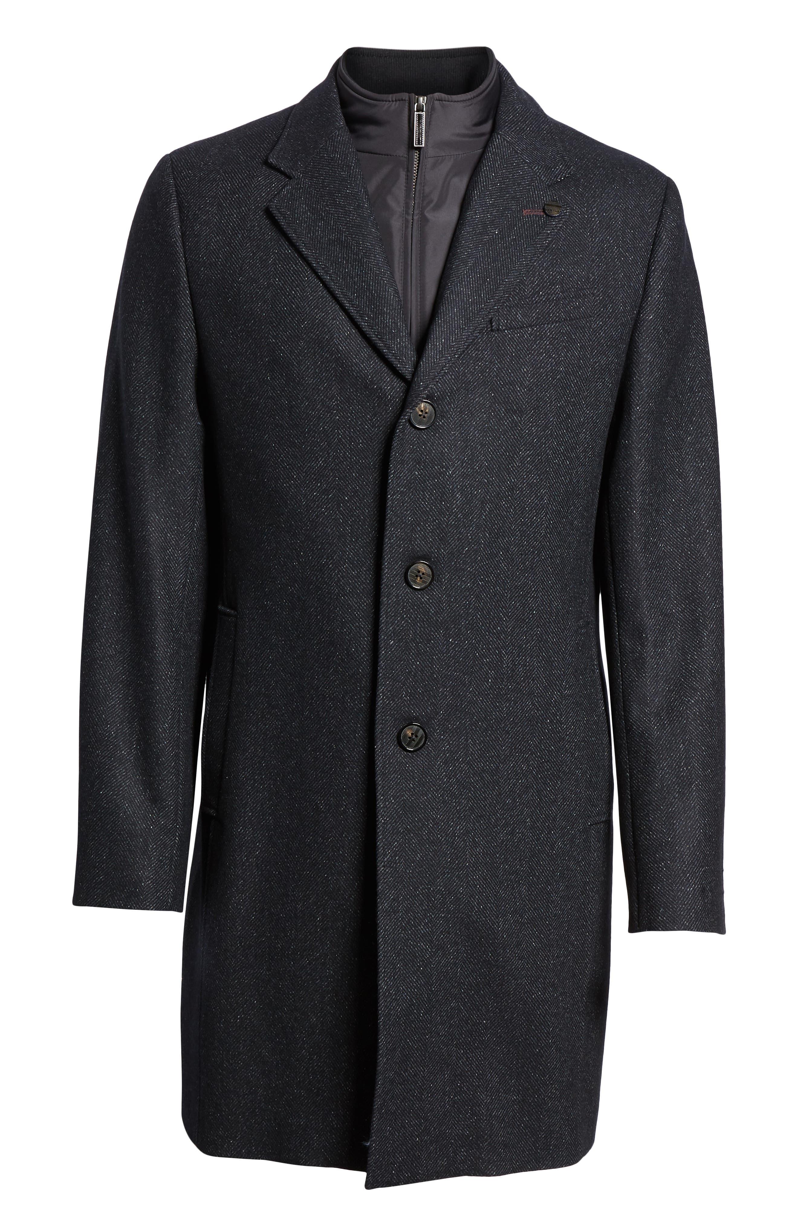 Herringbone Wool Blend Overcoat,                             Alternate thumbnail 5, color,                             NAVY