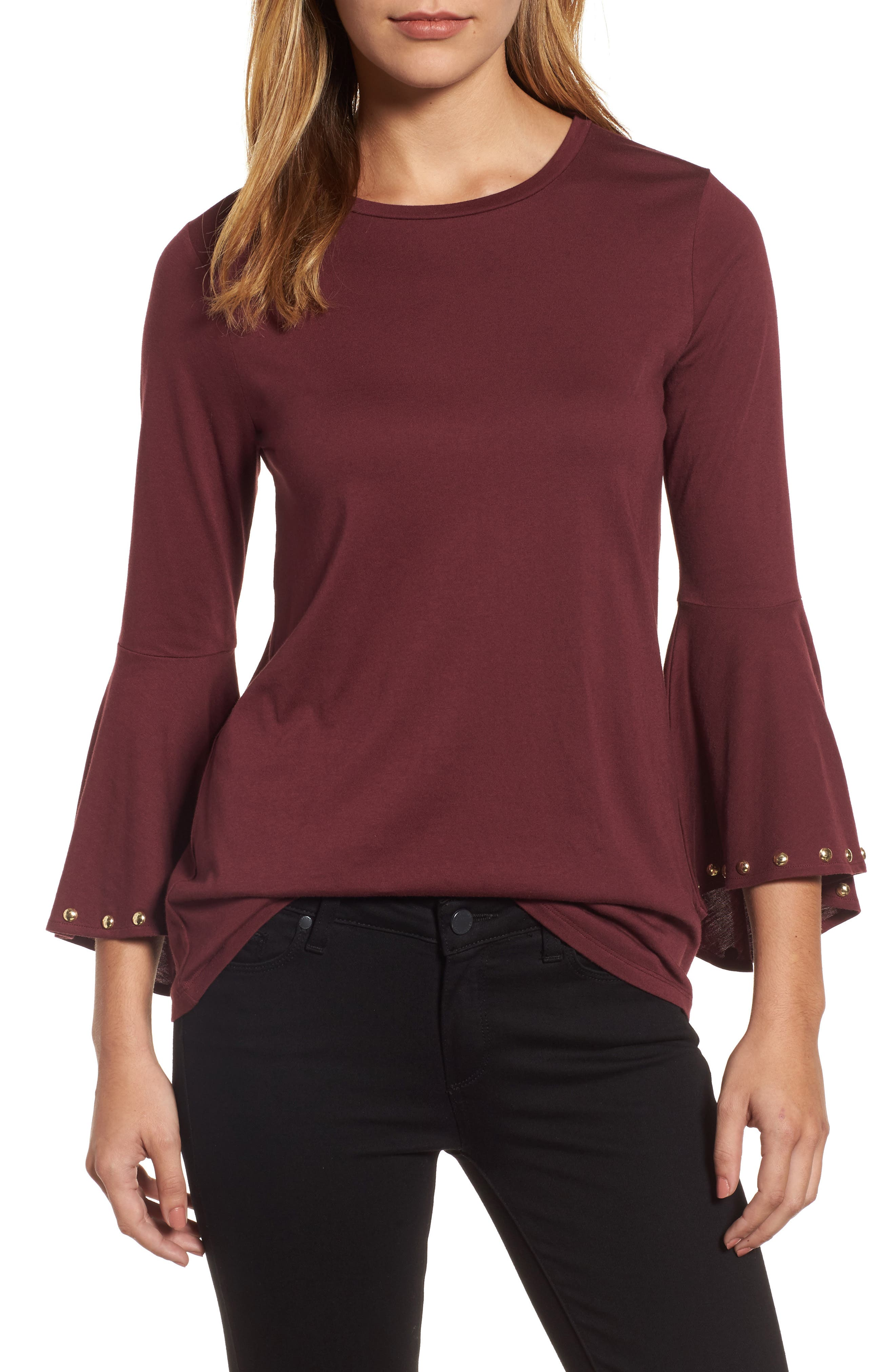 High/Low Bell Sleeve Top,                             Main thumbnail 3, color,