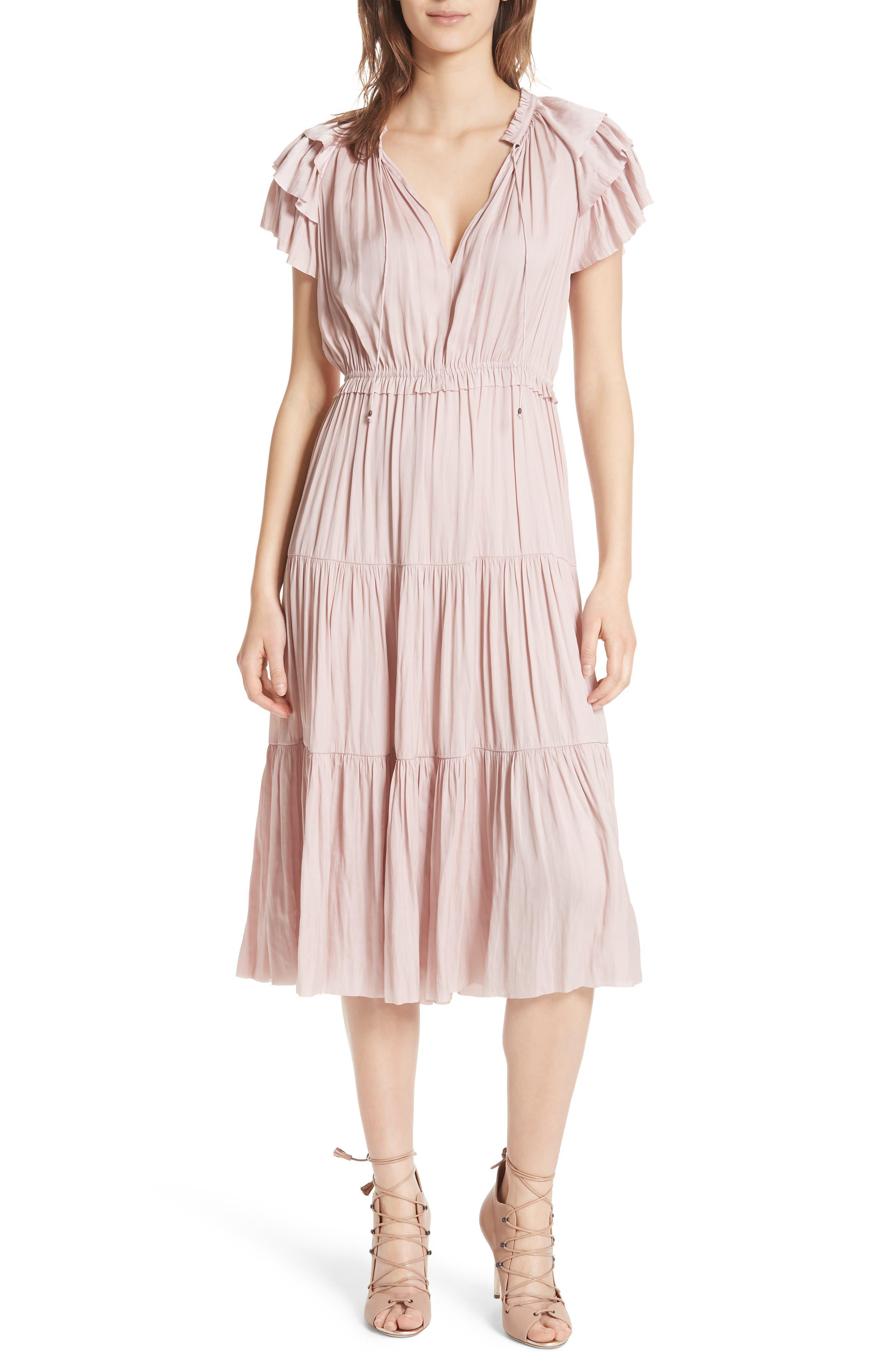 ULLA JOHNSON Blaire Satin Dress, Main, color, 600