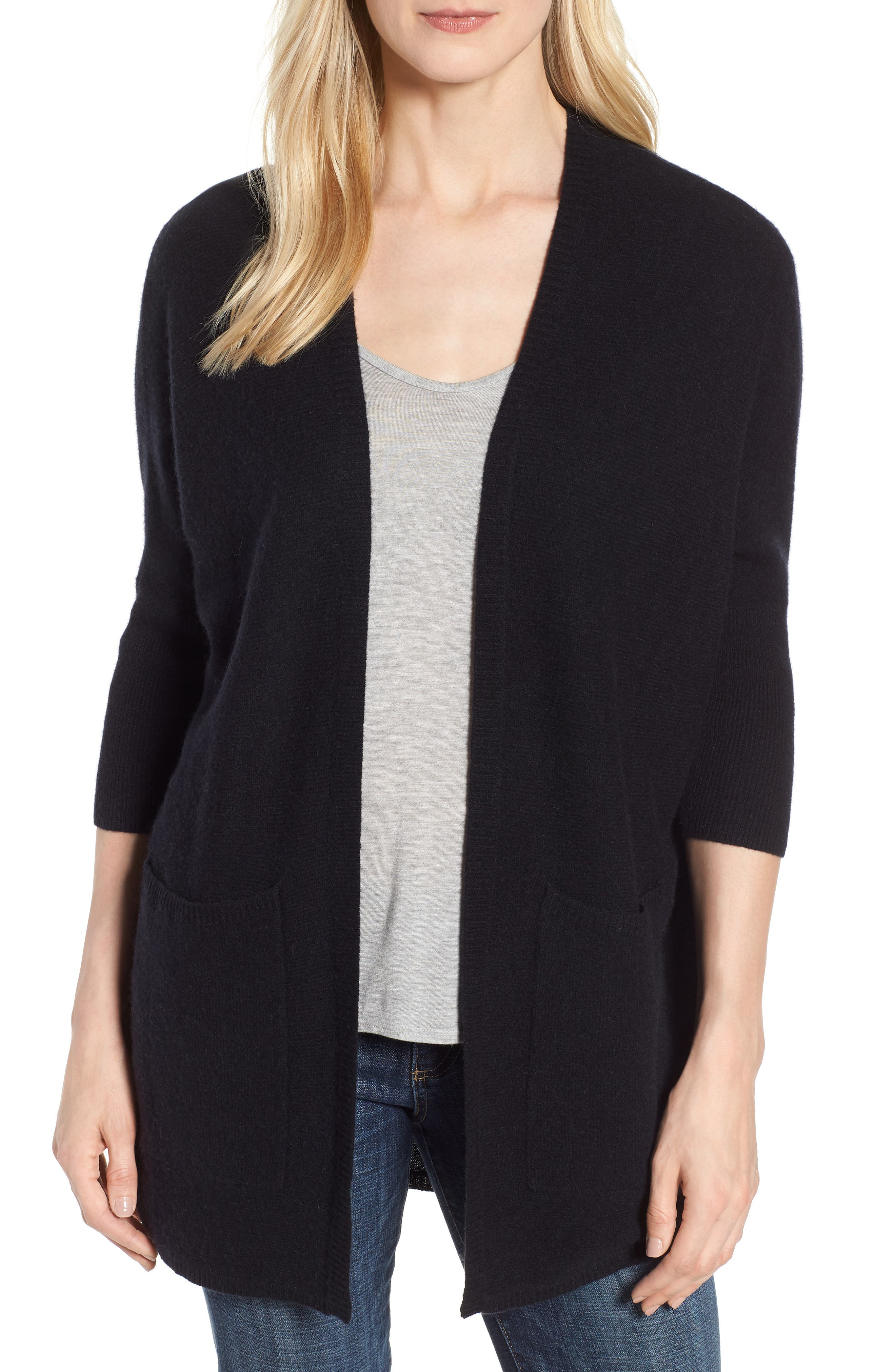 Cashmere Cardigan,                         Main,                         color, BLACK