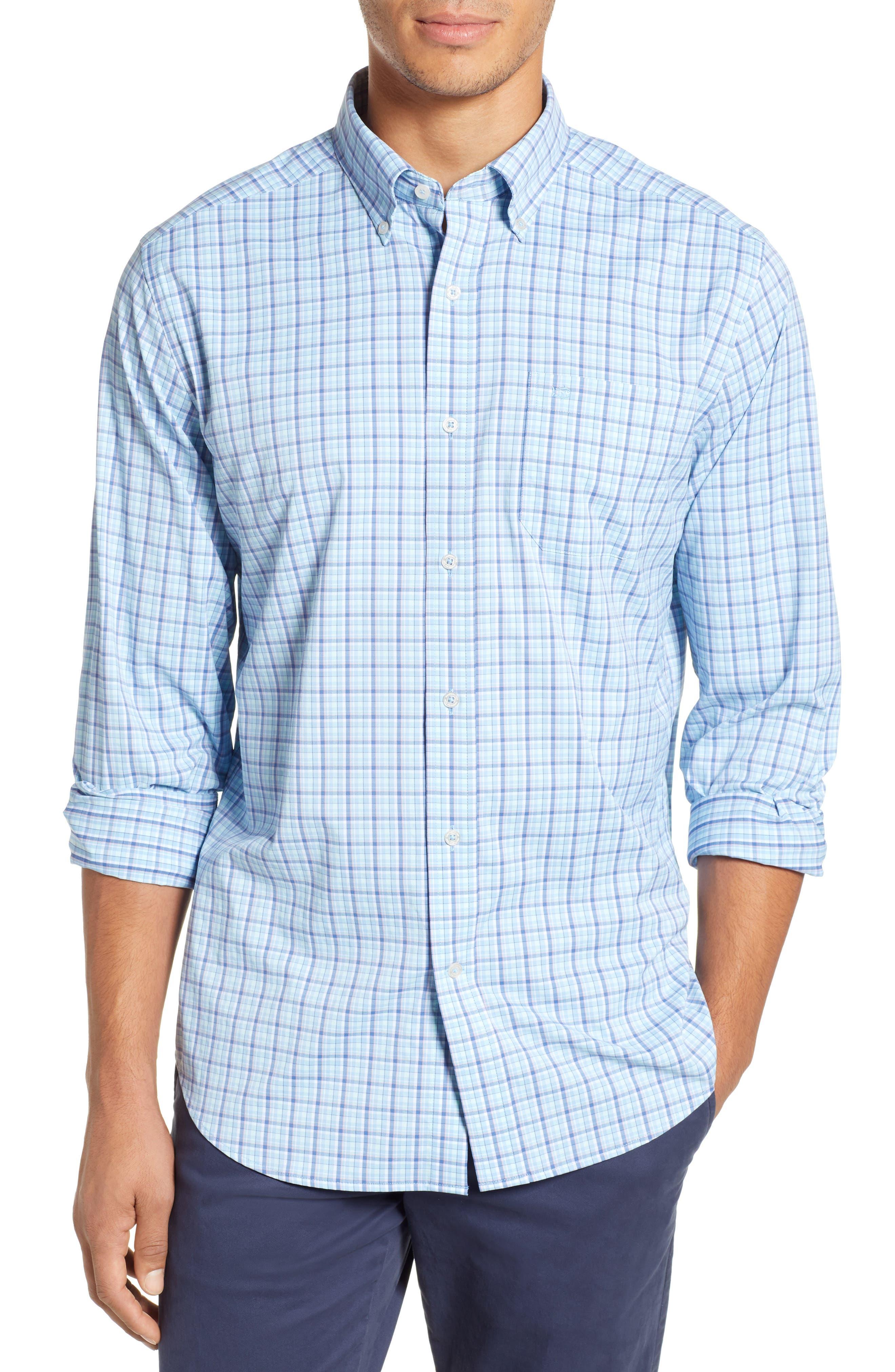 Staycation Intercoastal Regular Fit Plaid Performance Sport Shirt,                             Main thumbnail 1, color,                             SKY BLUE