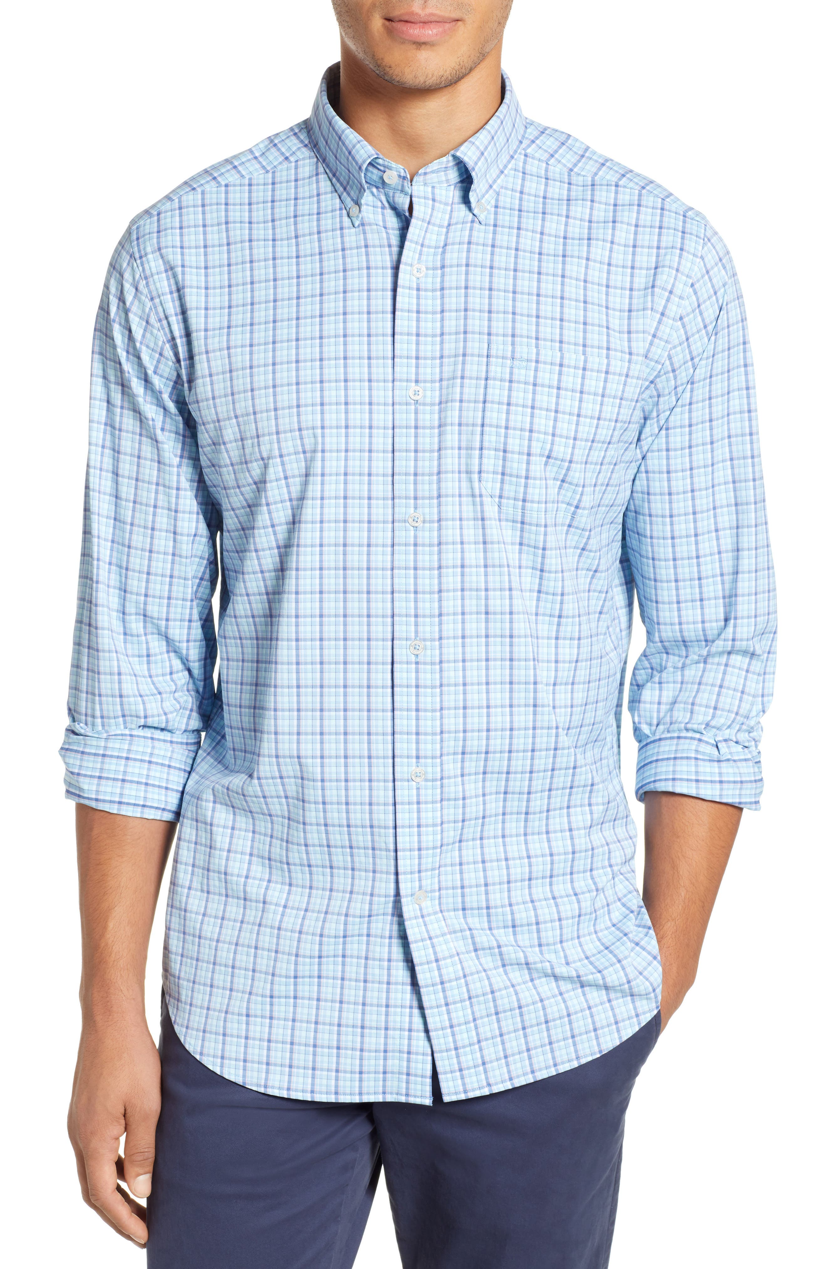 SOUTHERN TIDE Staycation Intercoastal Regular Fit Plaid Performance Sport Shirt in Sky Blue