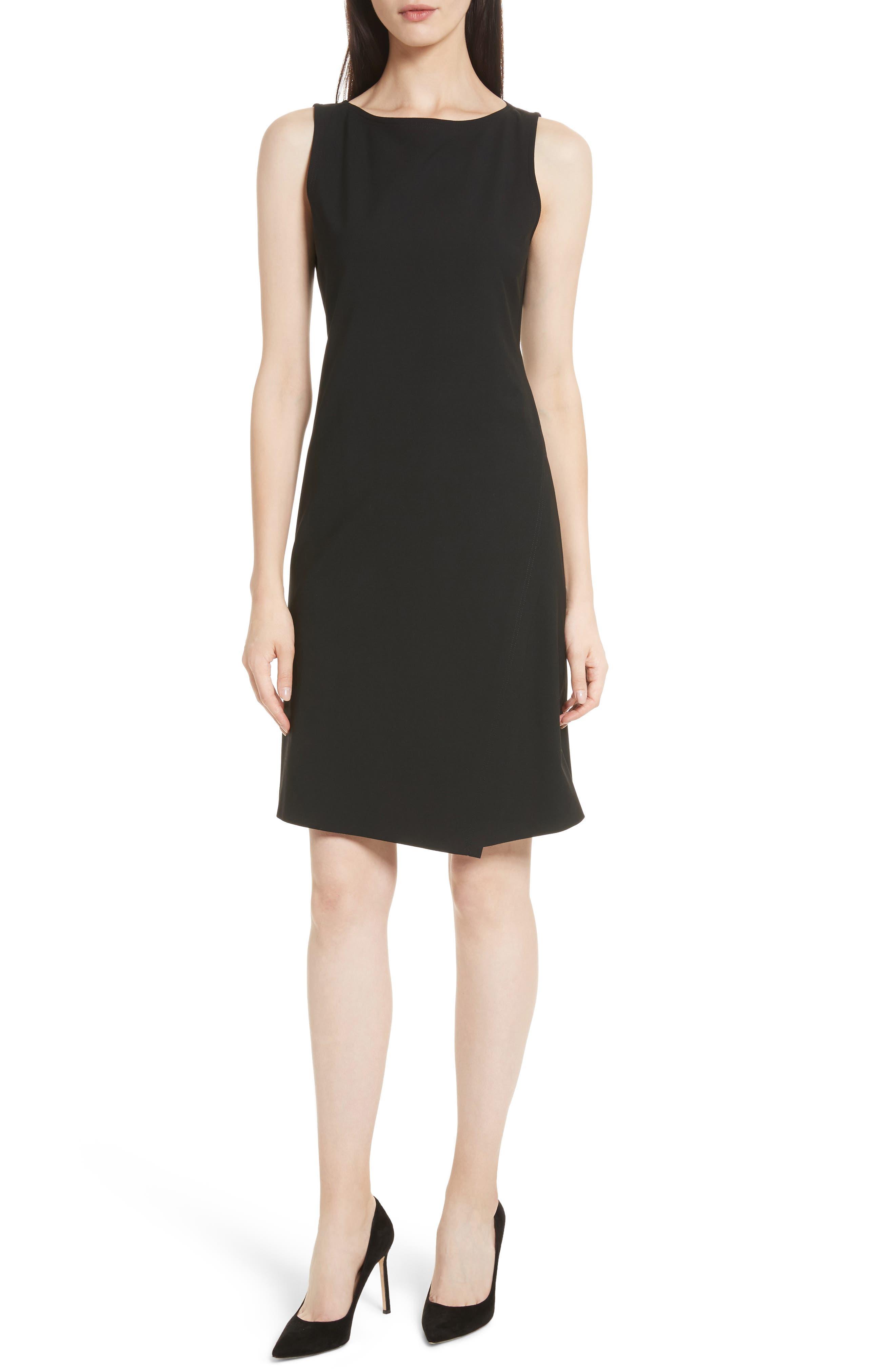 Risbana Good Wool A-Line Dress,                             Main thumbnail 1, color,                             BLACK