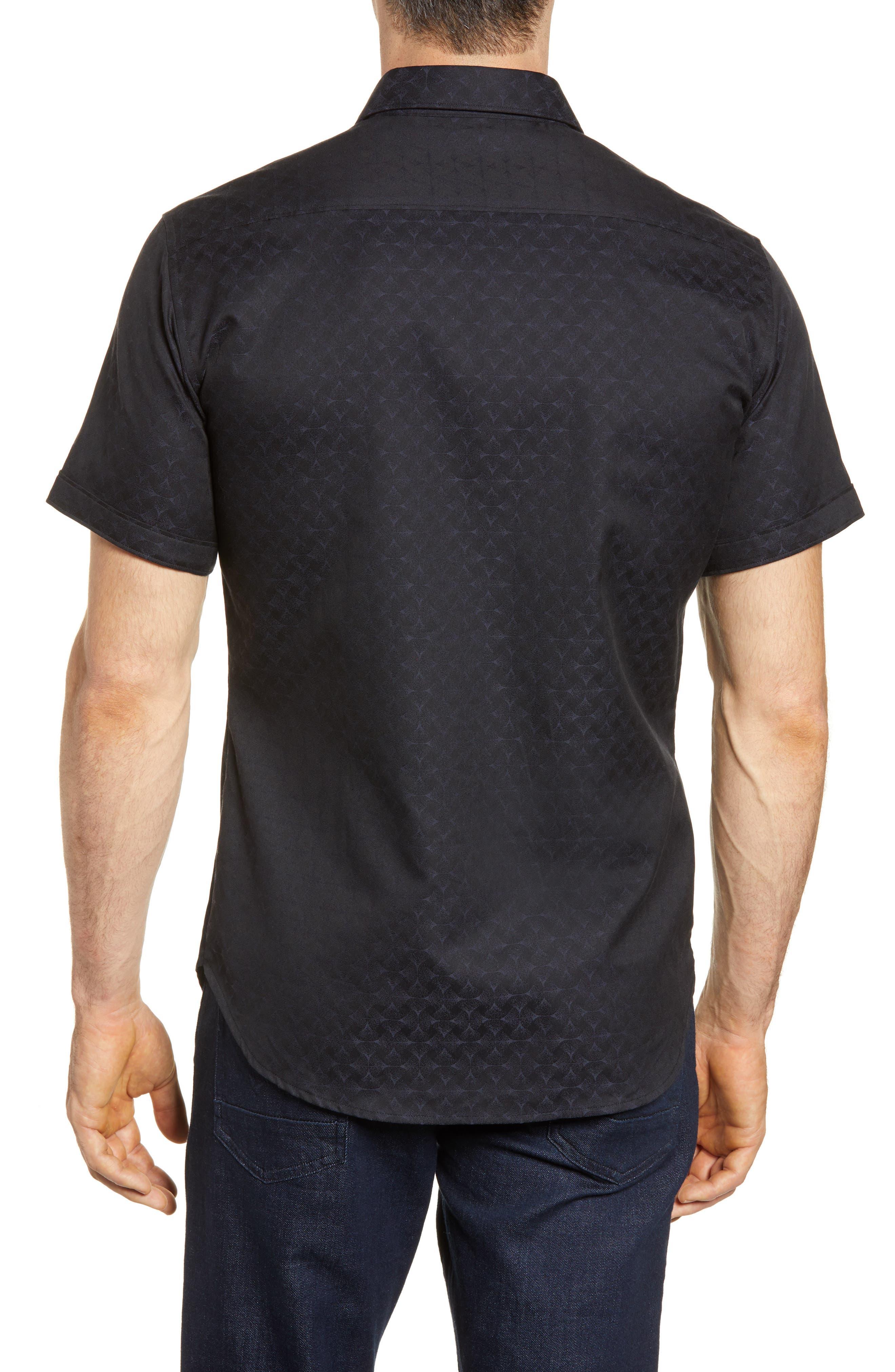 Diamante Classic Fit Sport Shirt,                             Alternate thumbnail 2, color,                             BLACK