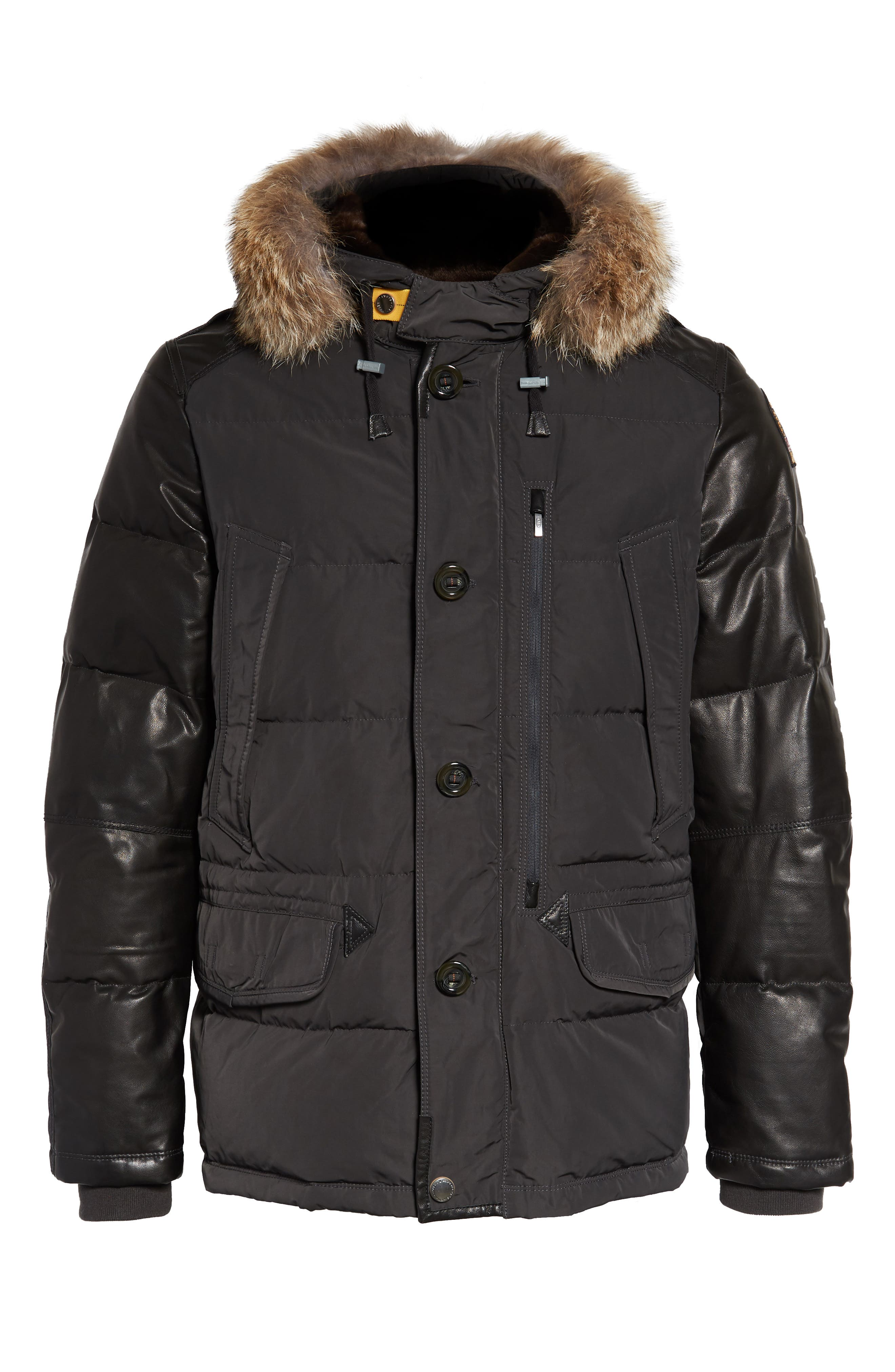 Dhole Hooded Down Jacket with Genuine Coyote Fur Trim,                             Alternate thumbnail 5, color,                             060