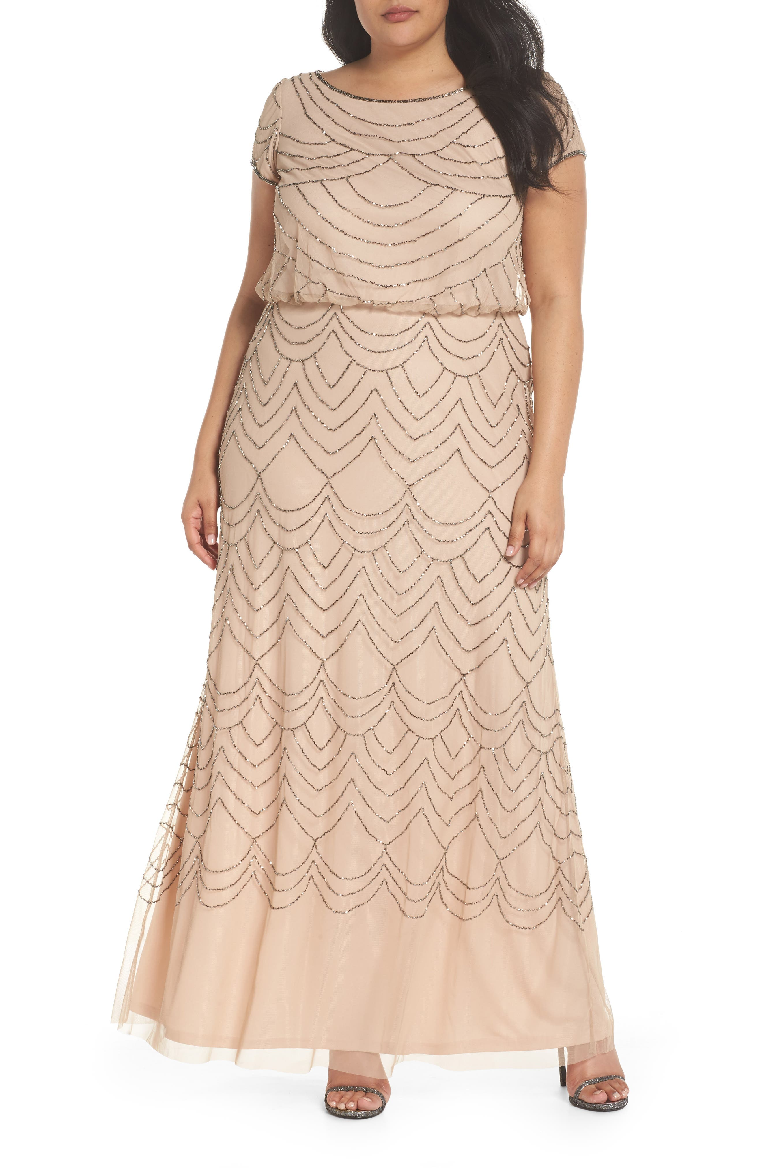 Beaded Blouson Gown,                         Main,                         color, 657