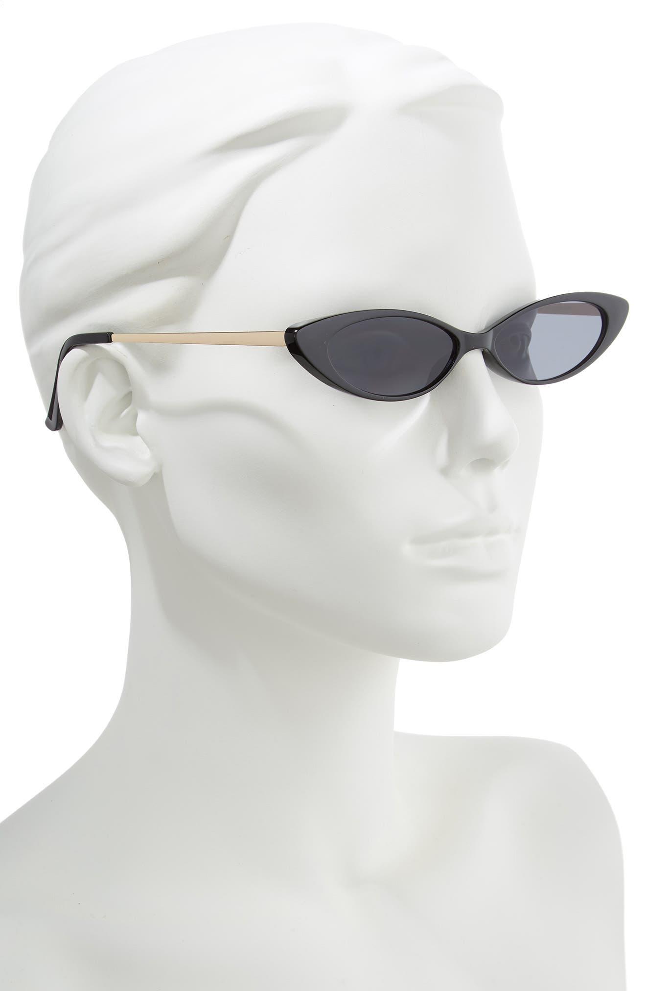 Metal & Plastic Mini Cat Eye Sunglasses,                             Alternate thumbnail 2, color,                             BLACK/ GOLD