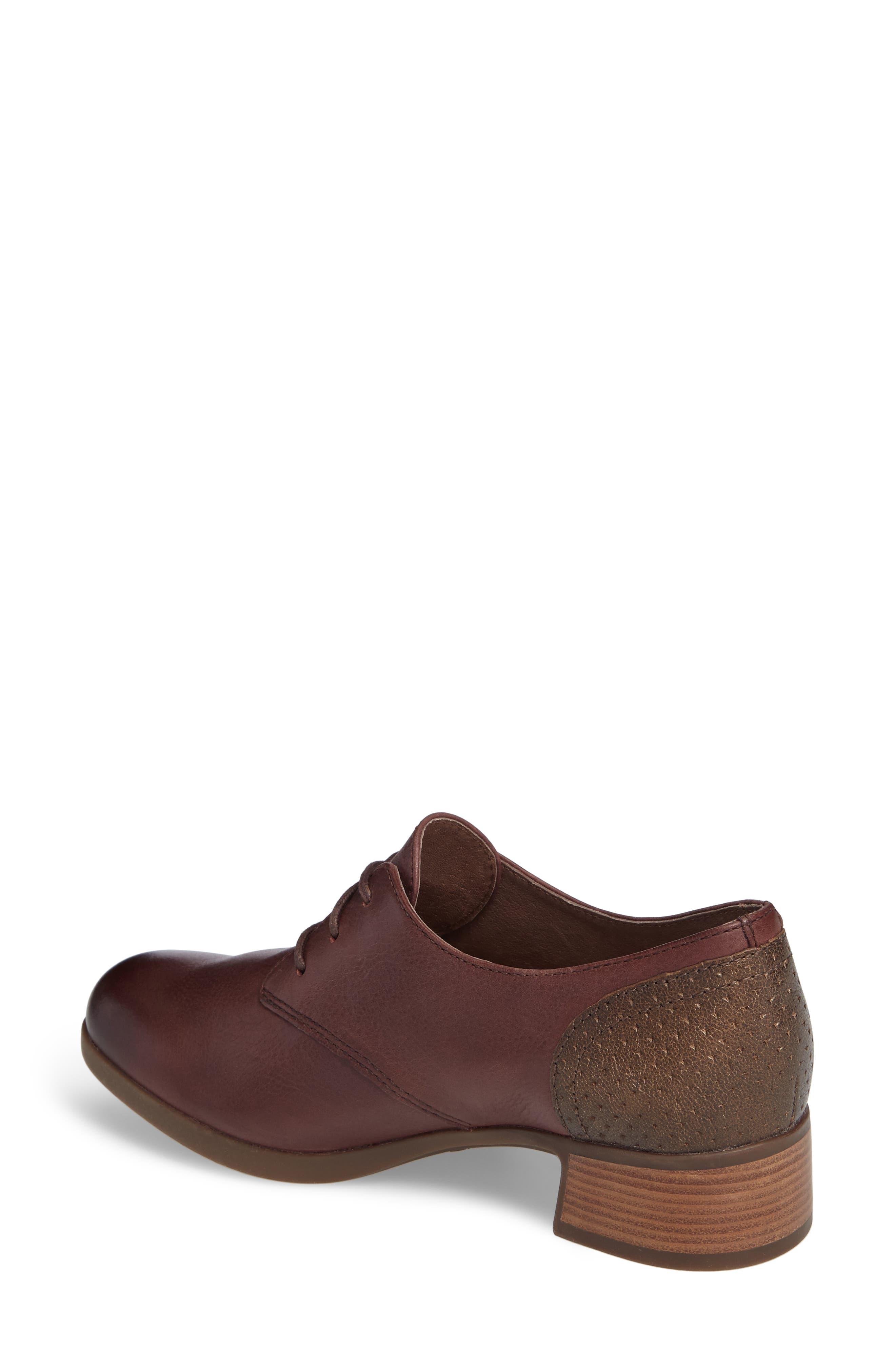 'Louise' Round Toe Derby,                             Alternate thumbnail 2, color,                             WINE BURNISHED LEATHER