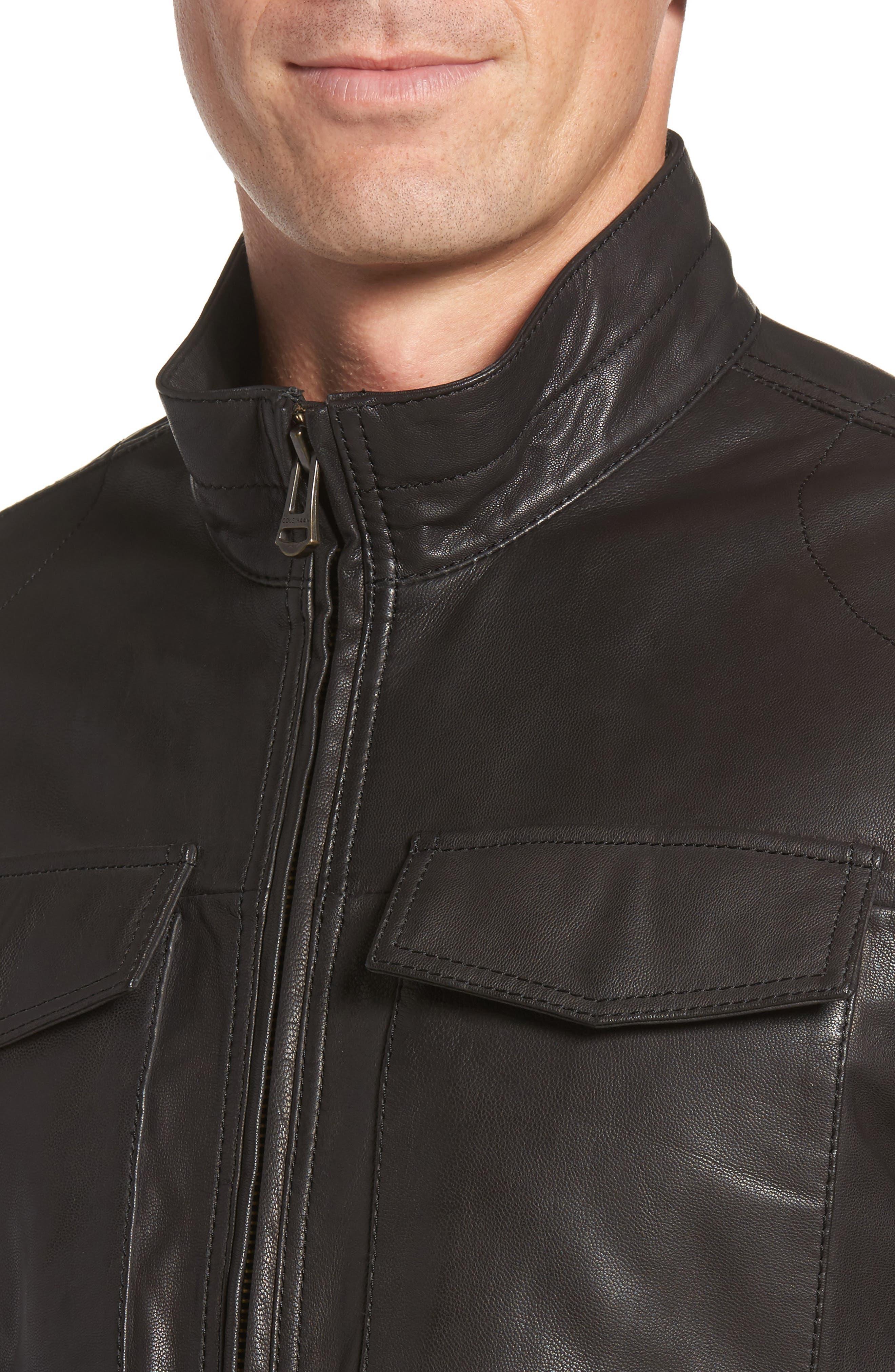Washed Leather Trucker Jacket,                             Alternate thumbnail 4, color,                             BLACK