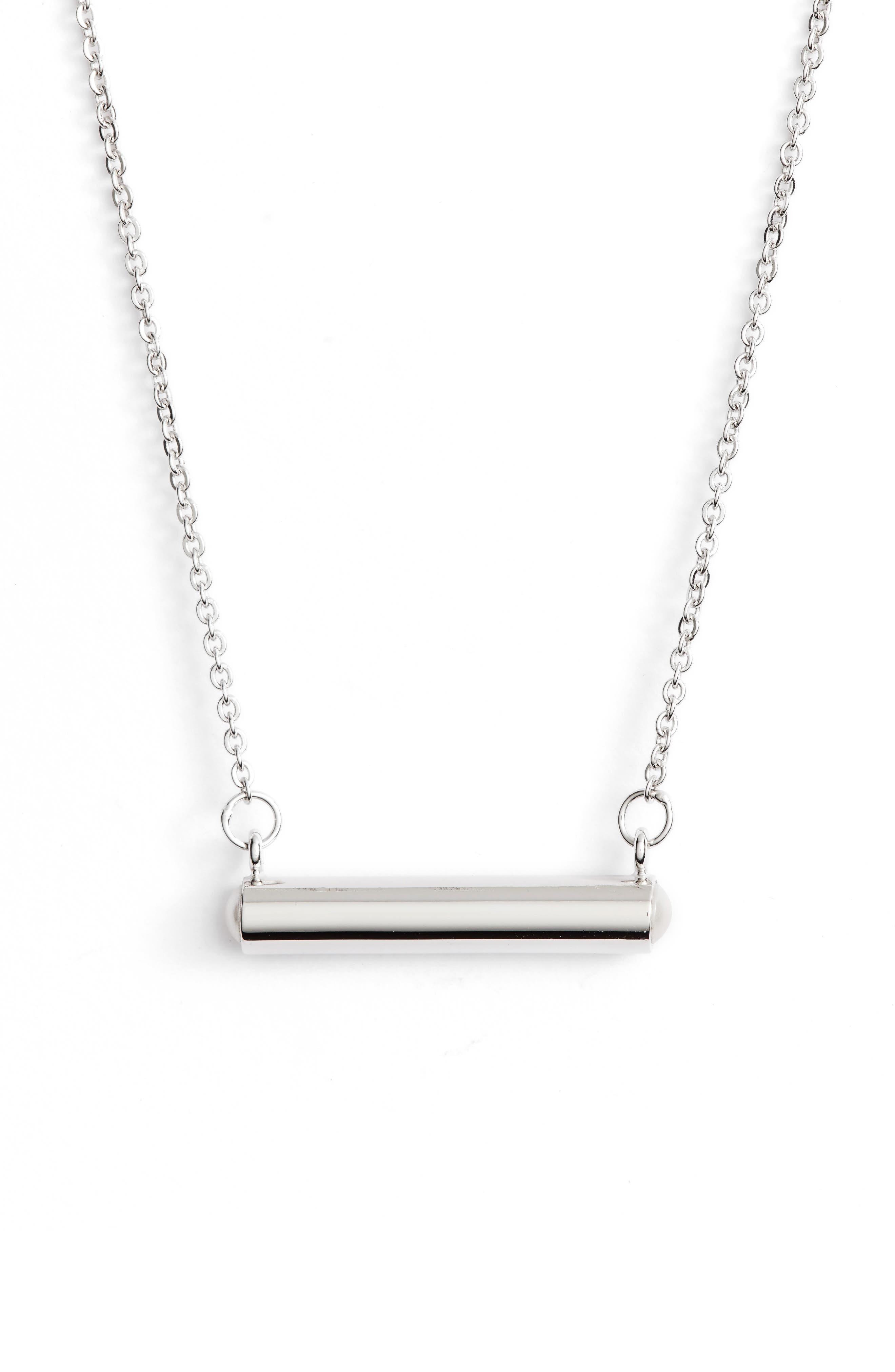 June Imitation Pearl Bar Pendant Necklace,                             Main thumbnail 1, color,                             SILVER