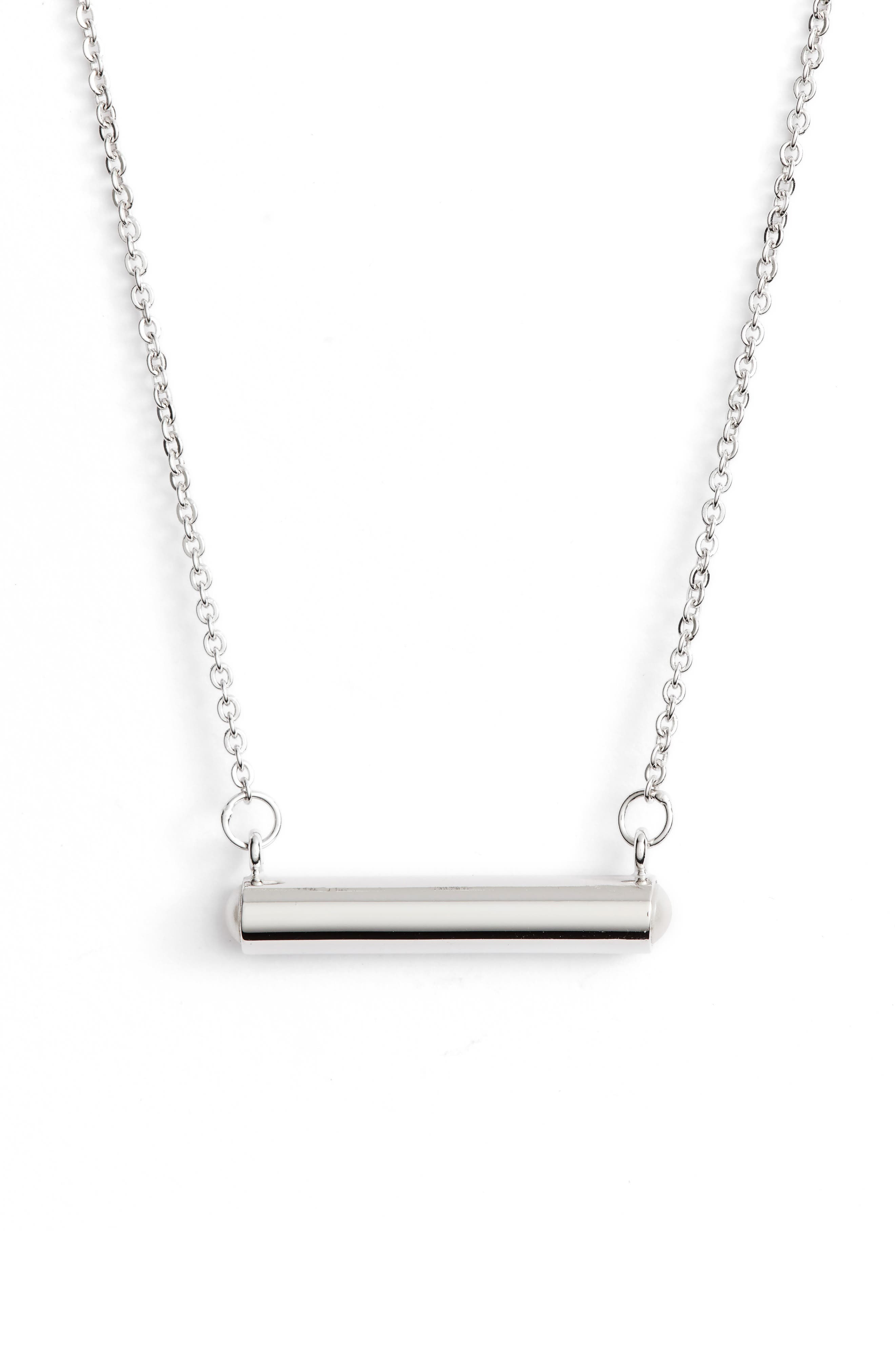 June Imitation Pearl Bar Pendant Necklace,                         Main,                         color, SILVER