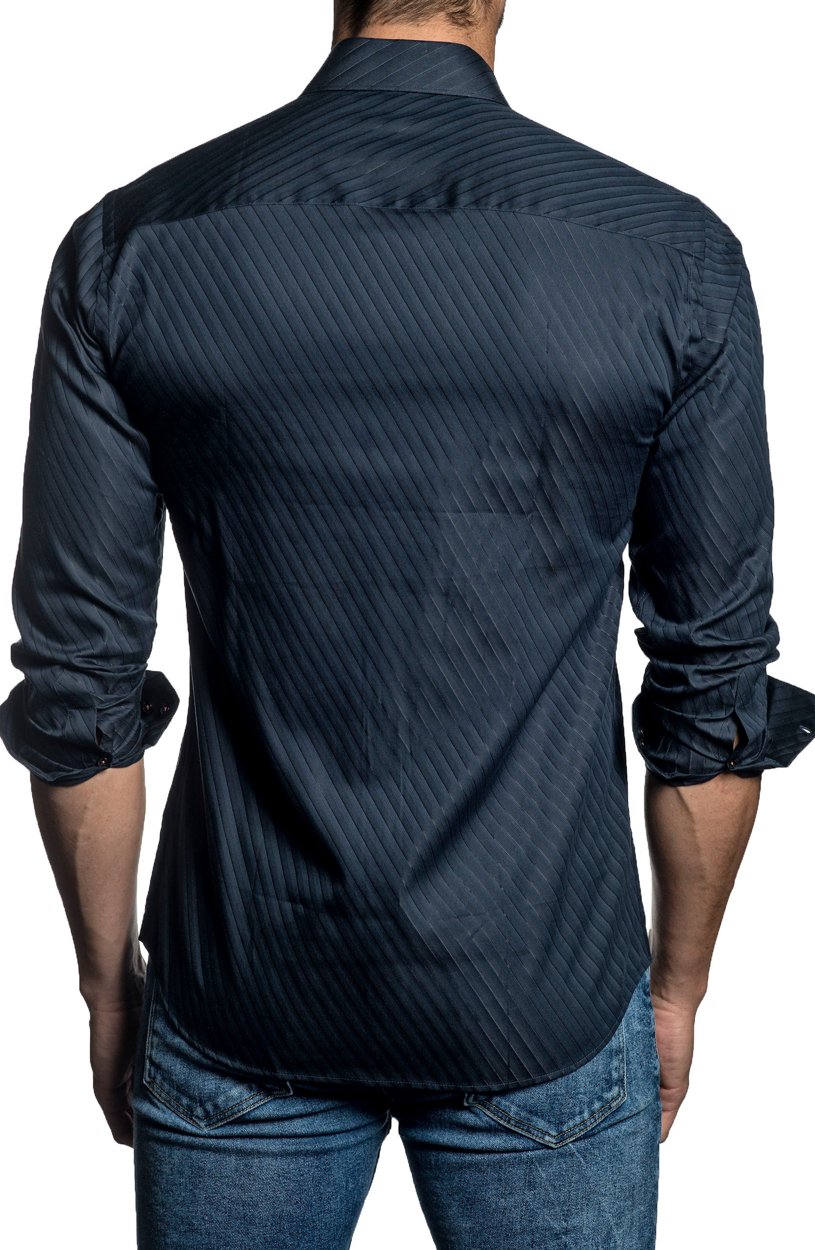 Trim Fit Angle Stripe Sport Shirt,                             Alternate thumbnail 2, color,                             409