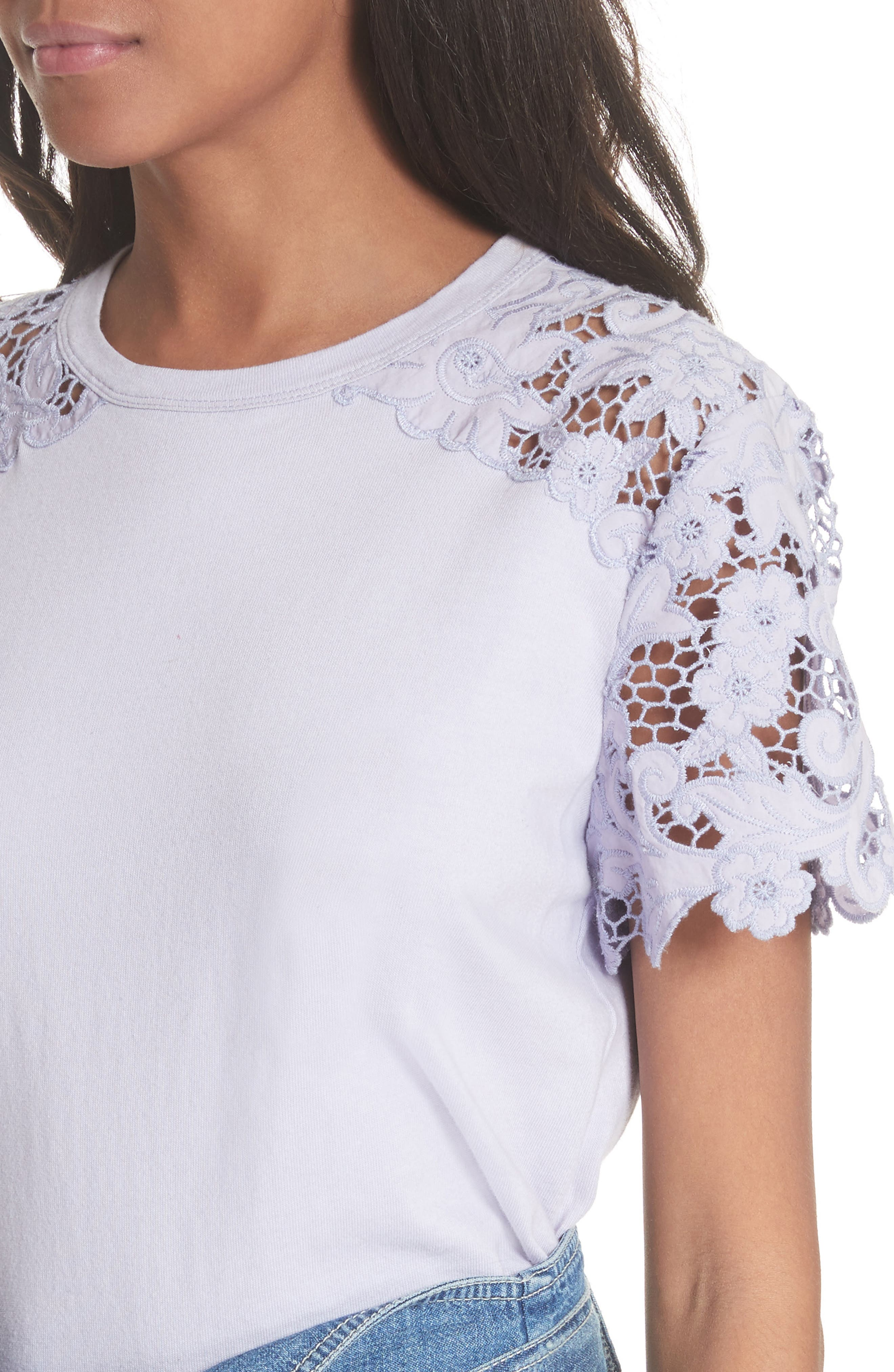 Lace Detail Tee,                             Alternate thumbnail 8, color,