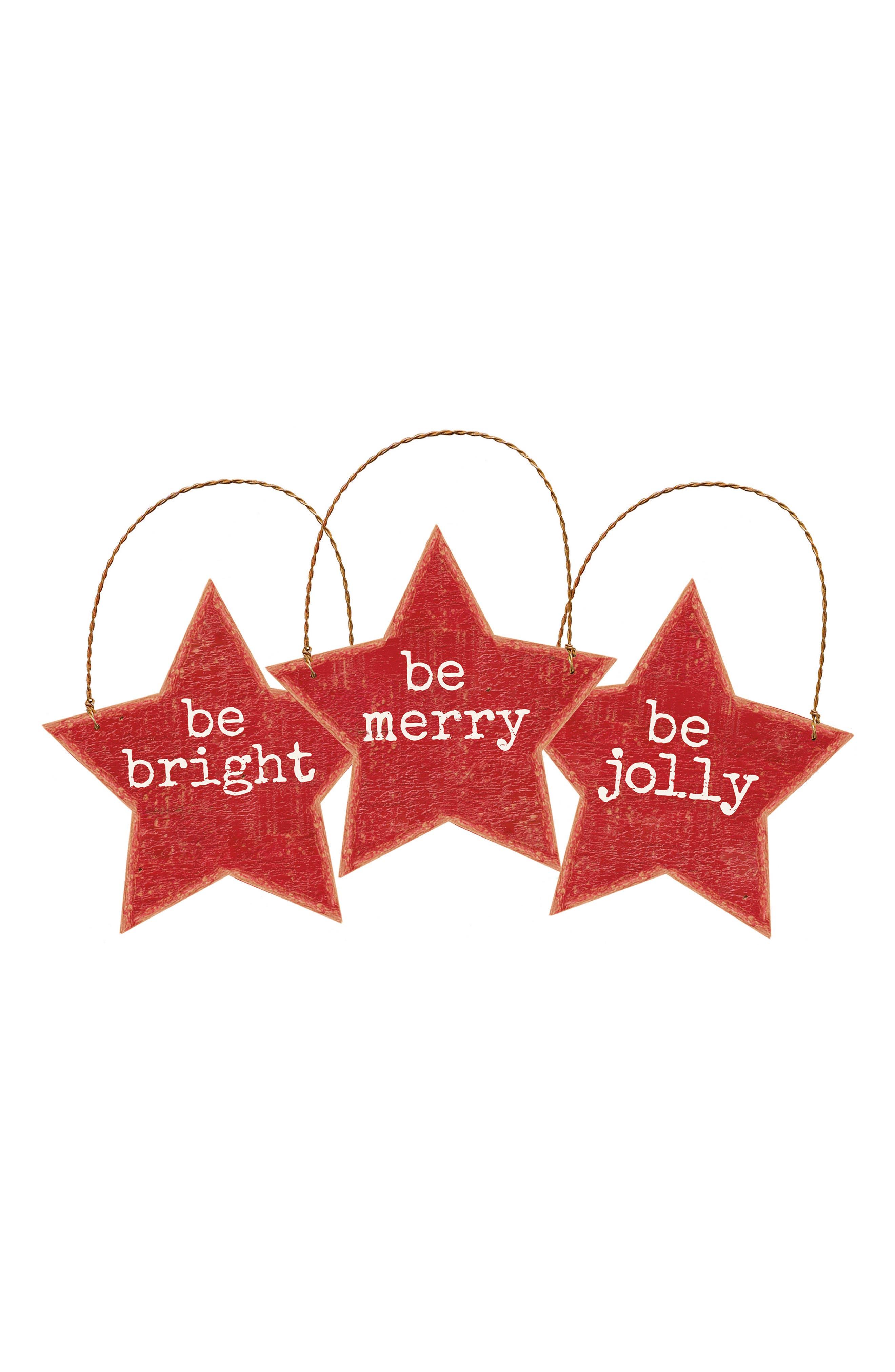 Set of 3 Star Ornaments,                         Main,                         color,
