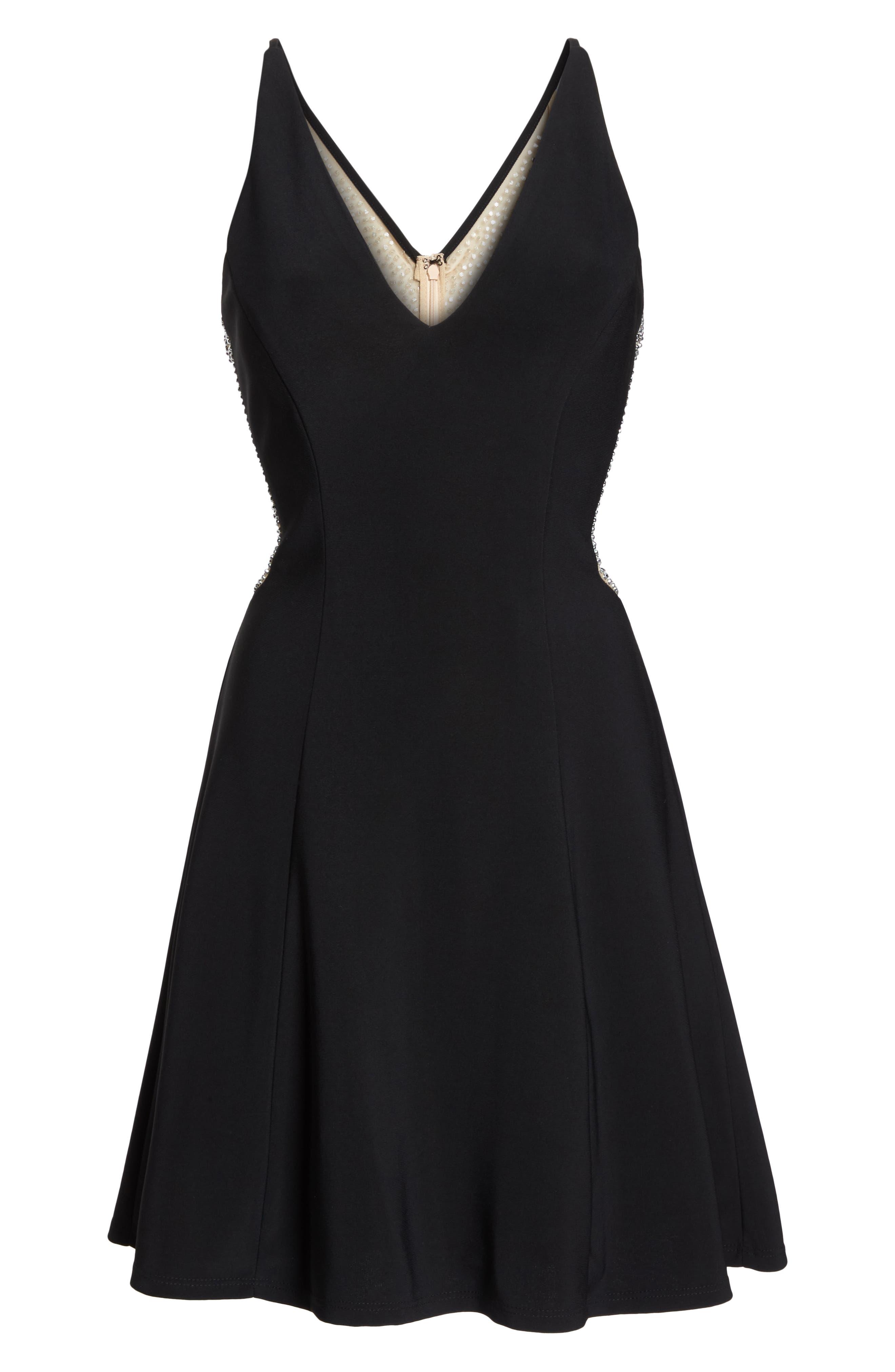 Deep V-Neck Skater Dress,                             Alternate thumbnail 7, color,                             BLACK/ / NUDE/ SILVER
