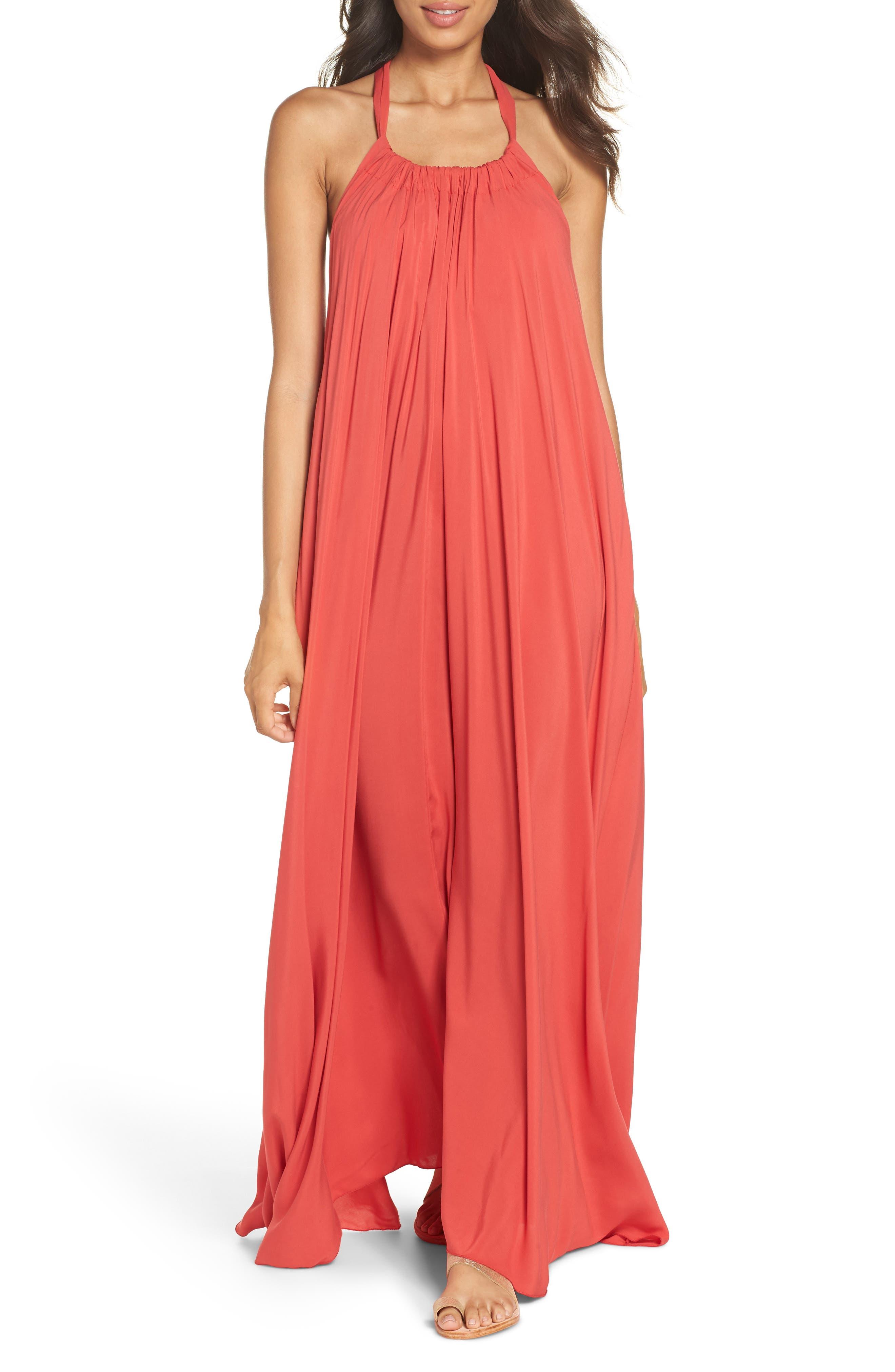 Elan Cover-Up Maxi Dress, Coral
