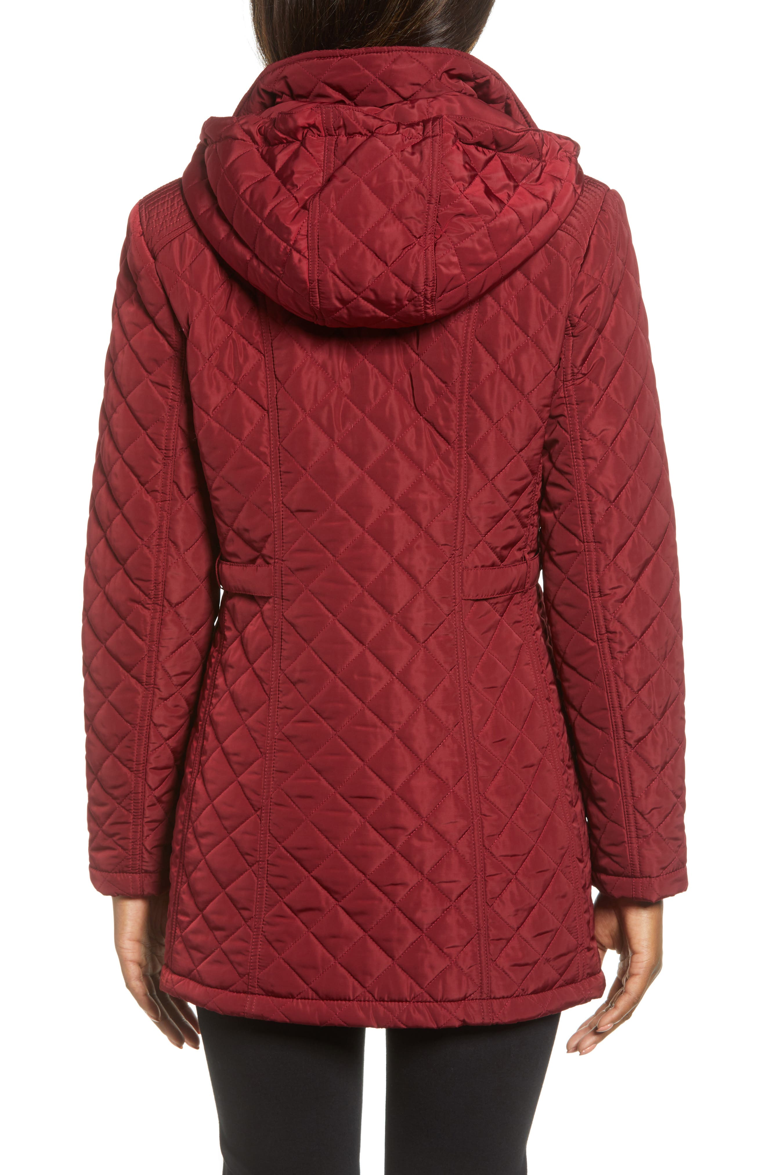 Quilted Hooded Jacket,                             Alternate thumbnail 2, color,                             MERLOT