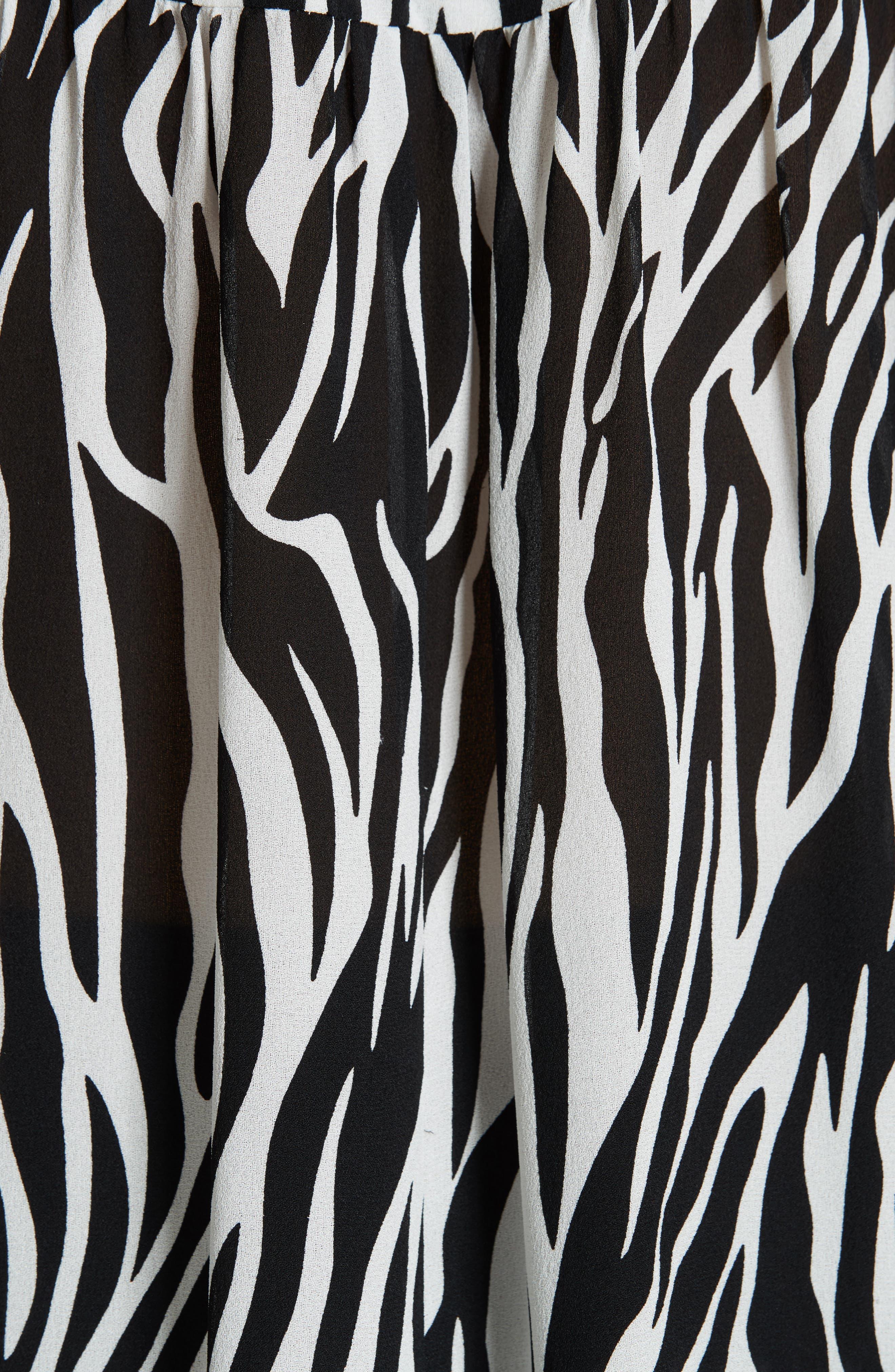 Zebra Print Tie Cuff Blouse,                             Alternate thumbnail 5, color,                             001