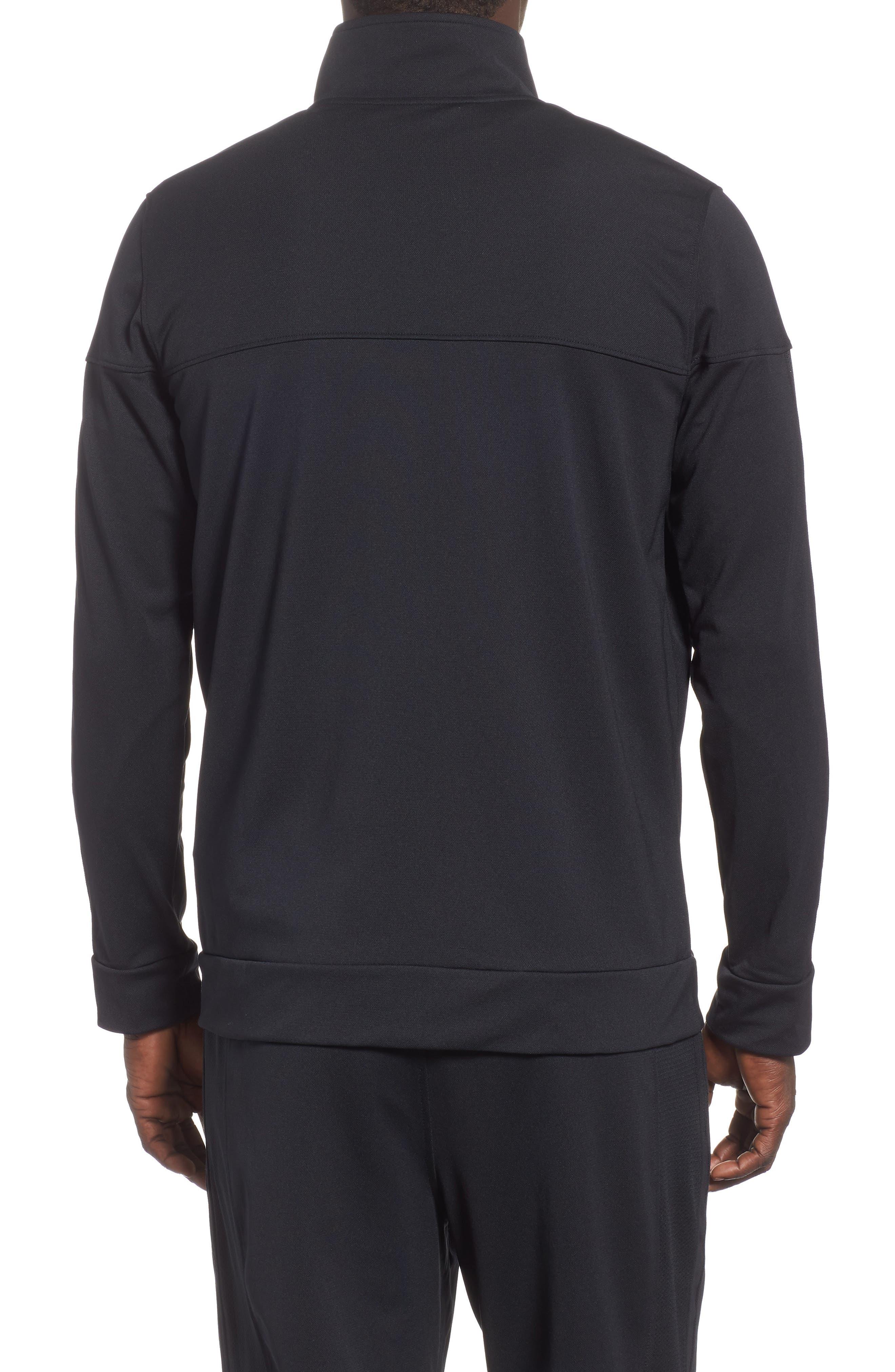 Sportstyle Piqué Track Jacket,                             Alternate thumbnail 2, color,                             BLACK / / BLACK