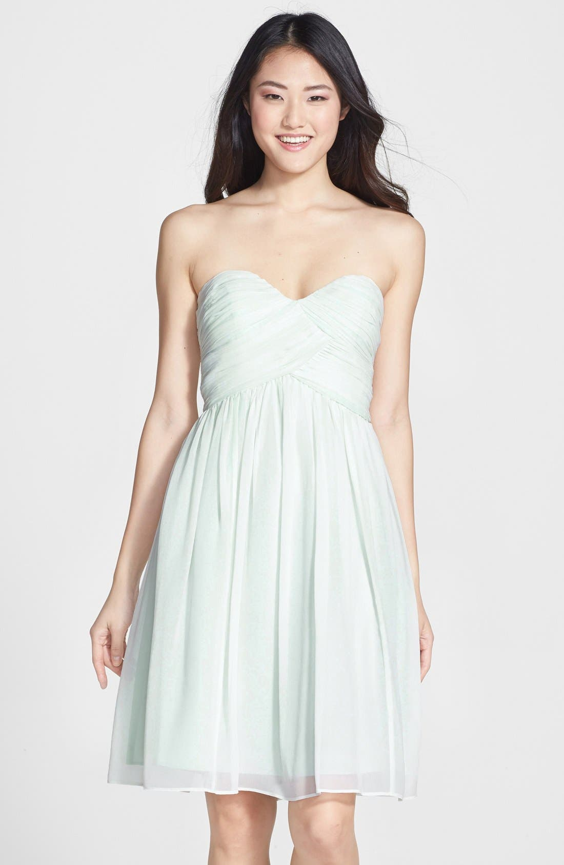 'Morgan' Strapless Silk Chiffon Dress,                             Main thumbnail 7, color,