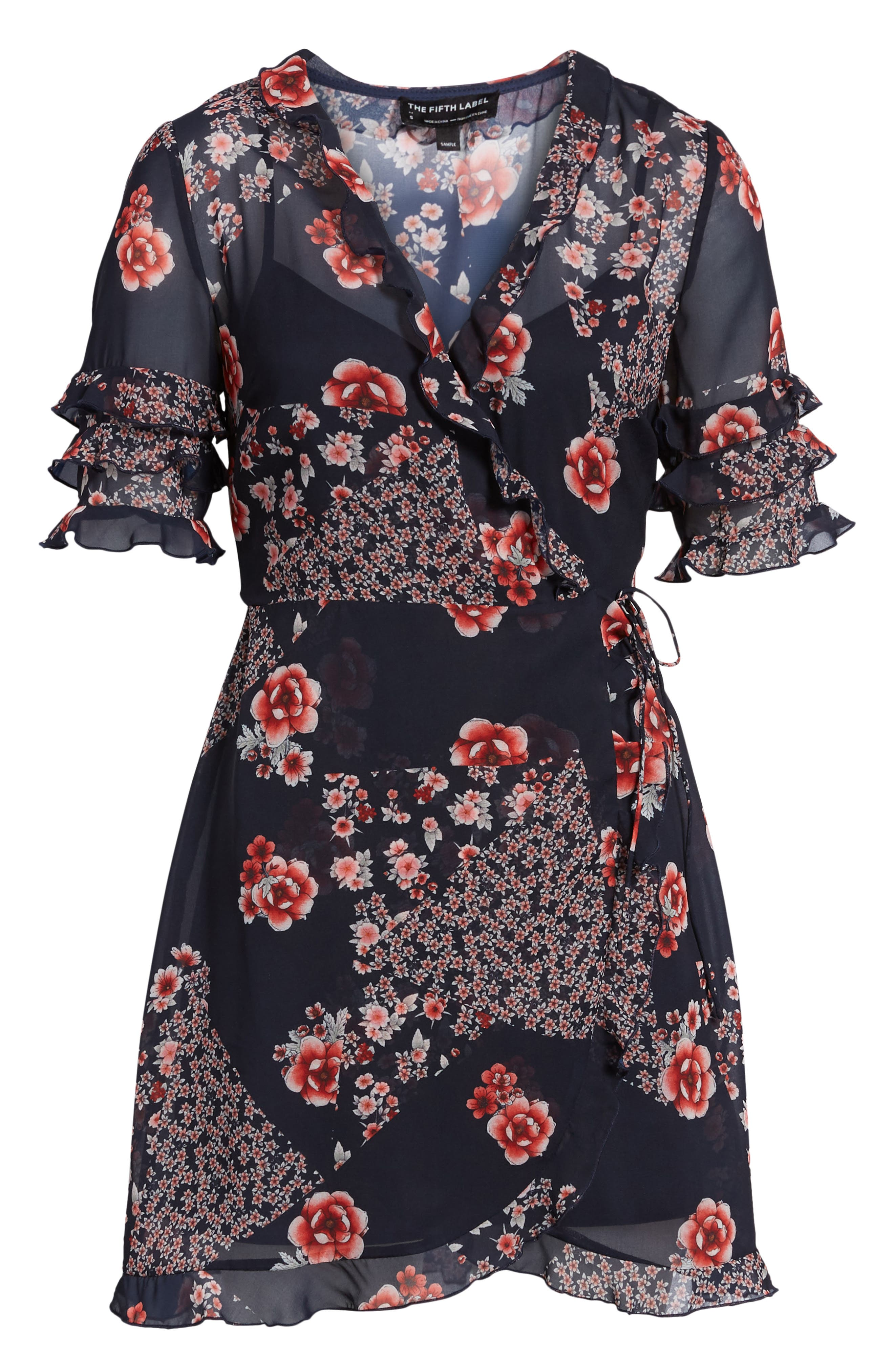 East Floral Wrap Dress,                             Alternate thumbnail 6, color,                             421