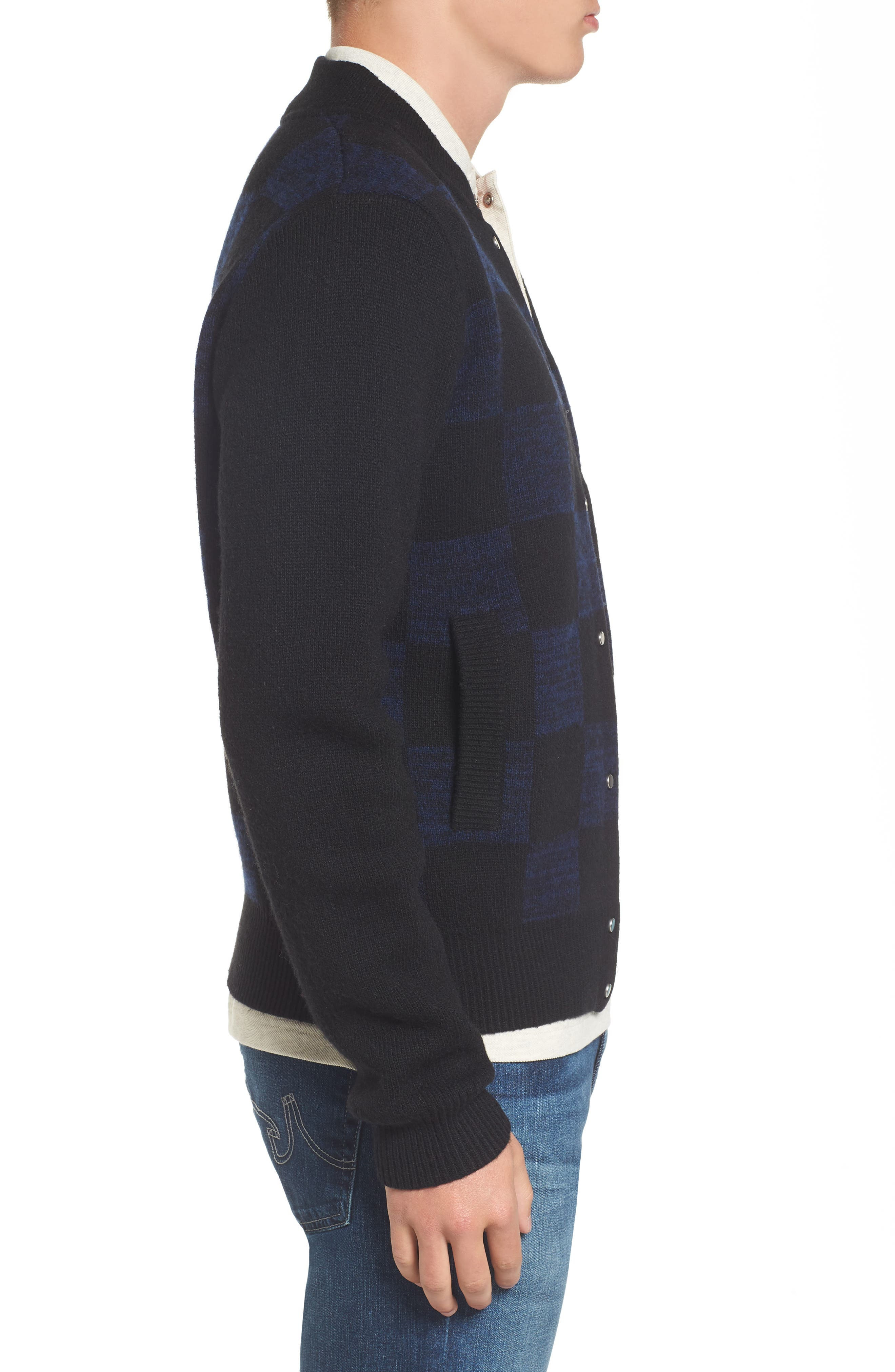 Double Face Check Sweater Jacket,                             Alternate thumbnail 3, color,                             006