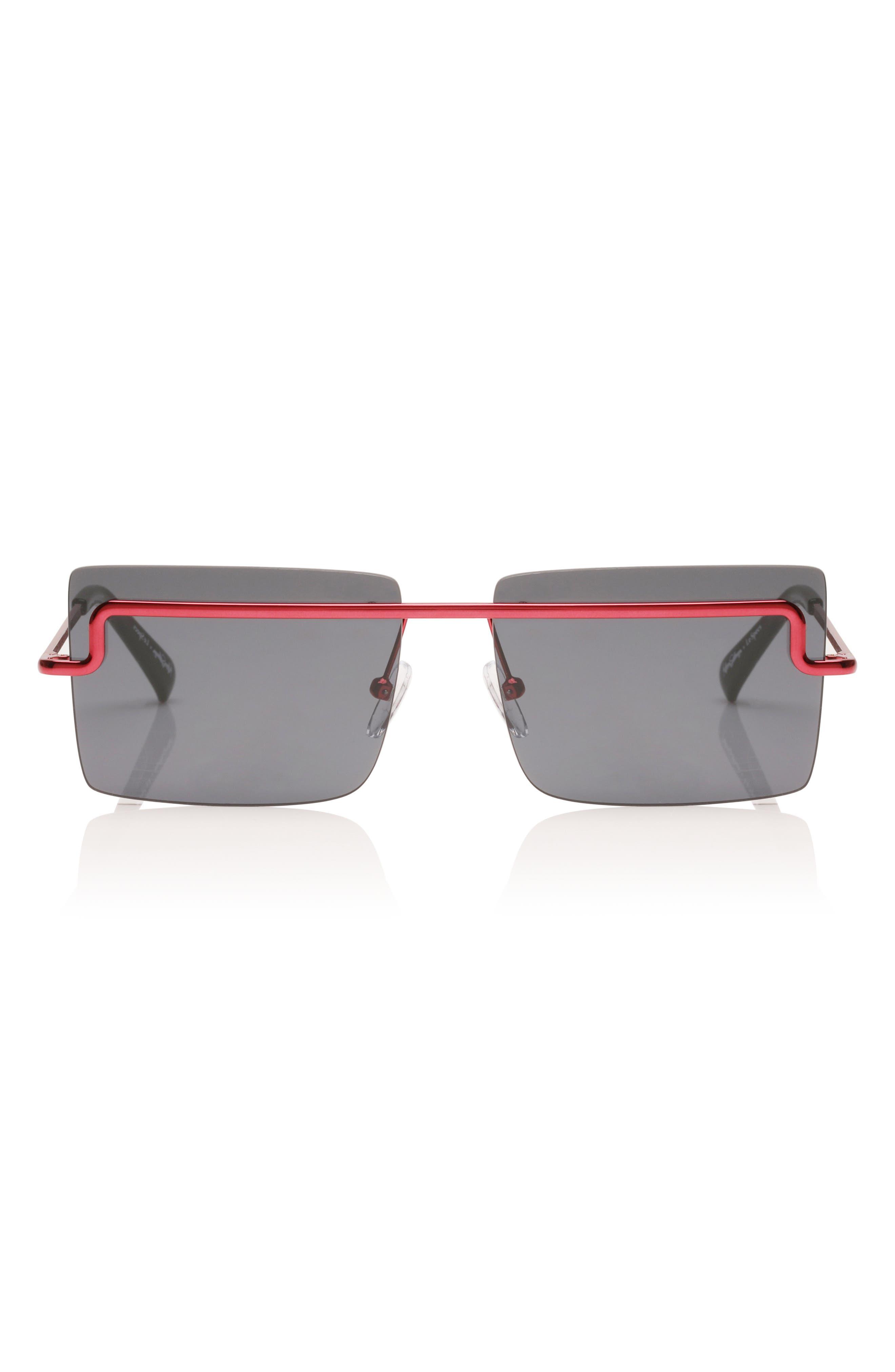 Adam Selman X Le Specs Luxe The International 5m Sunglasses - Metallic Red/ Navy Mono