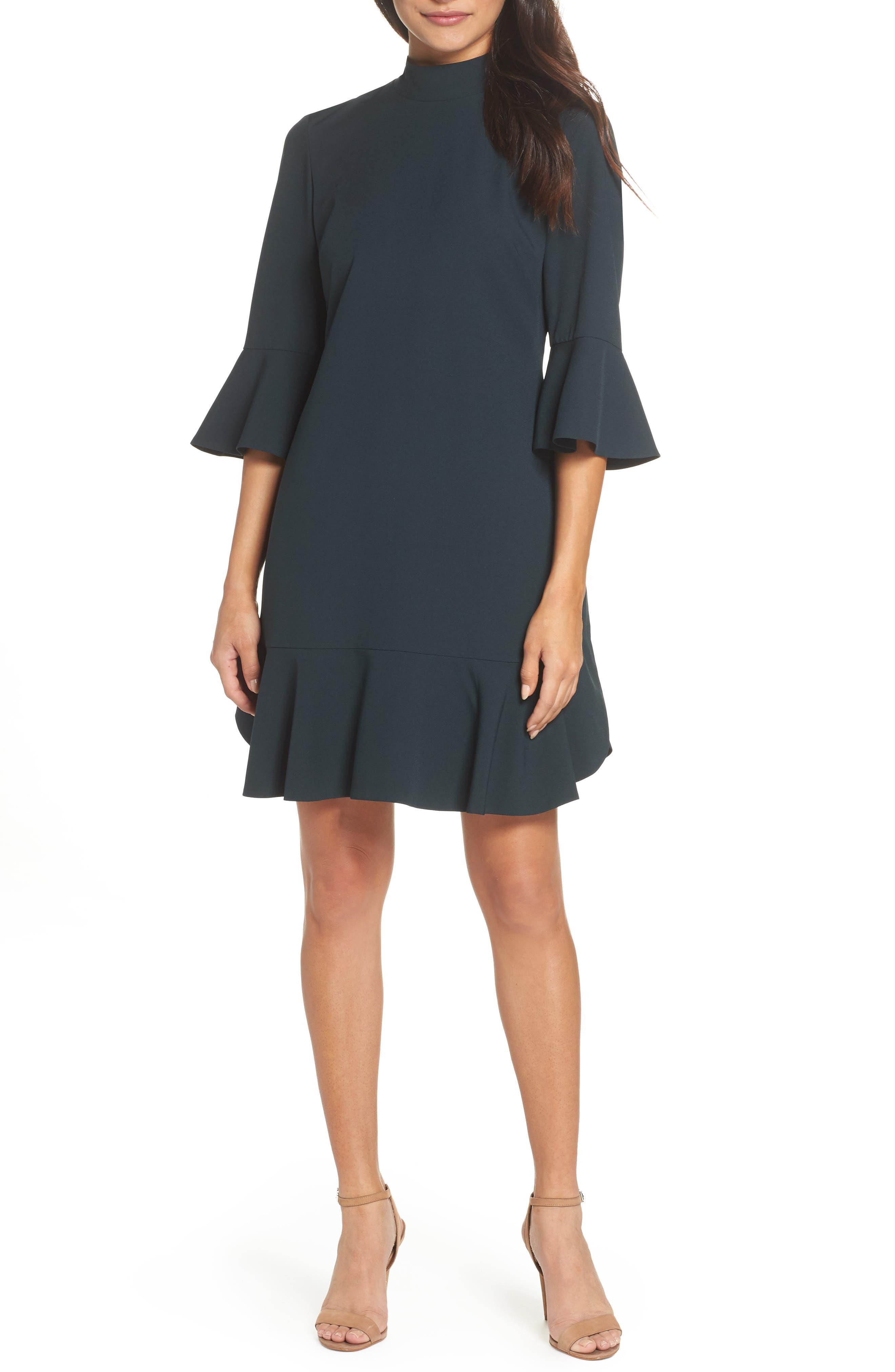Bell Sleeve Dress,                         Main,                         color, GREEN BUG