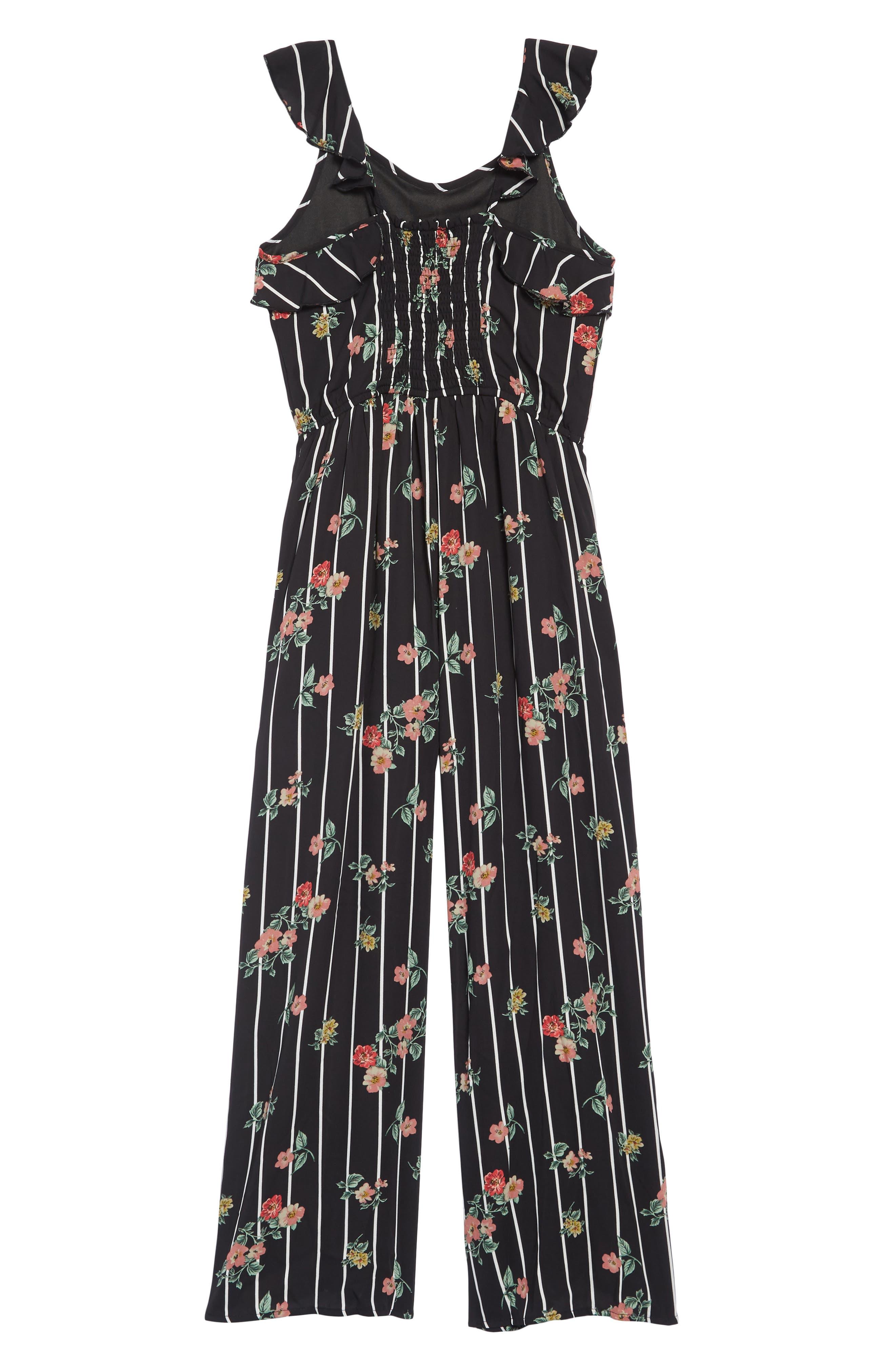 TRULY ME,                             Floral Jumpsuit,                             Alternate thumbnail 2, color,                             BLACK MULTI