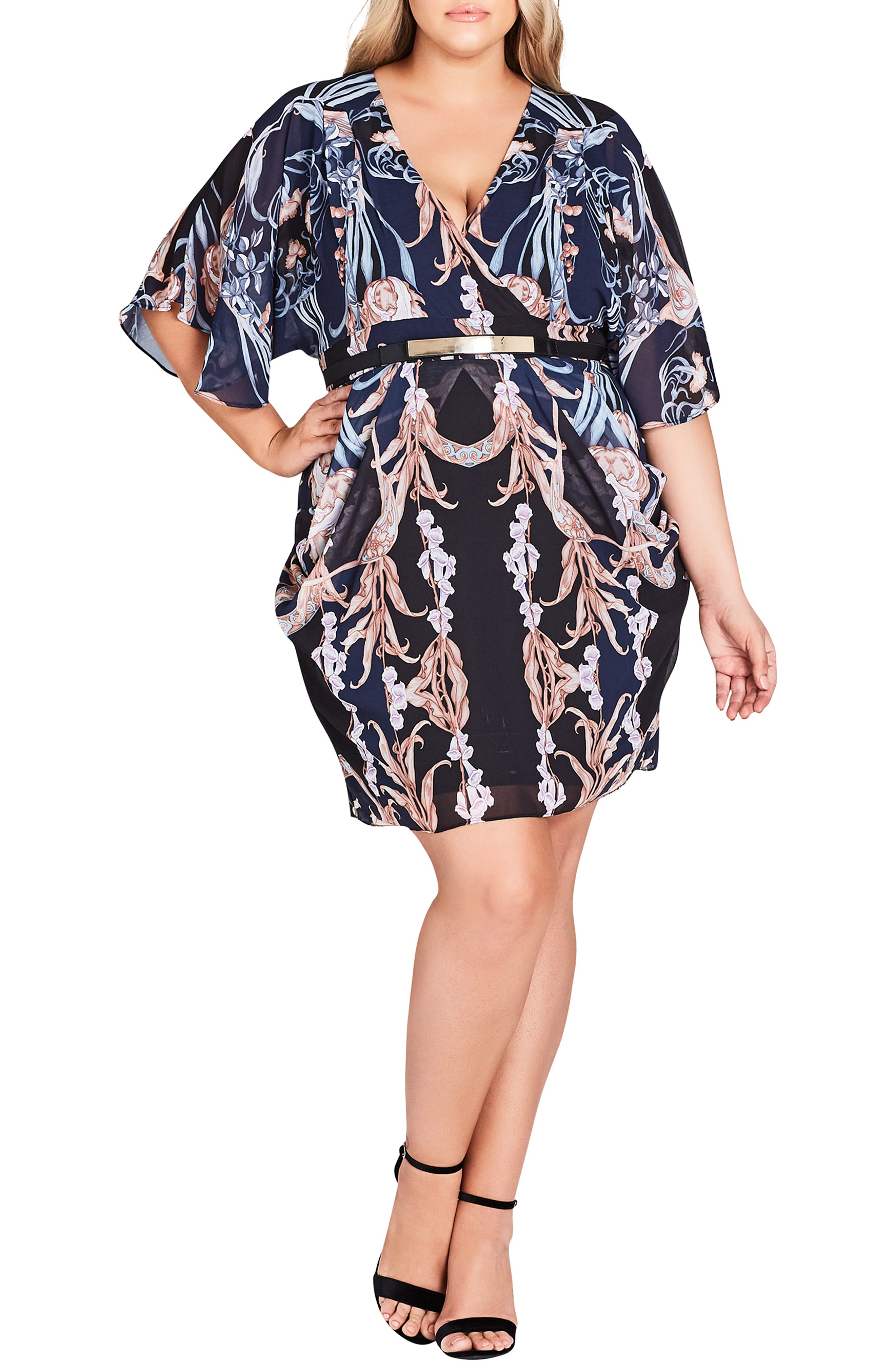Plus Size City Chic Deco Print Belted Dress, Black