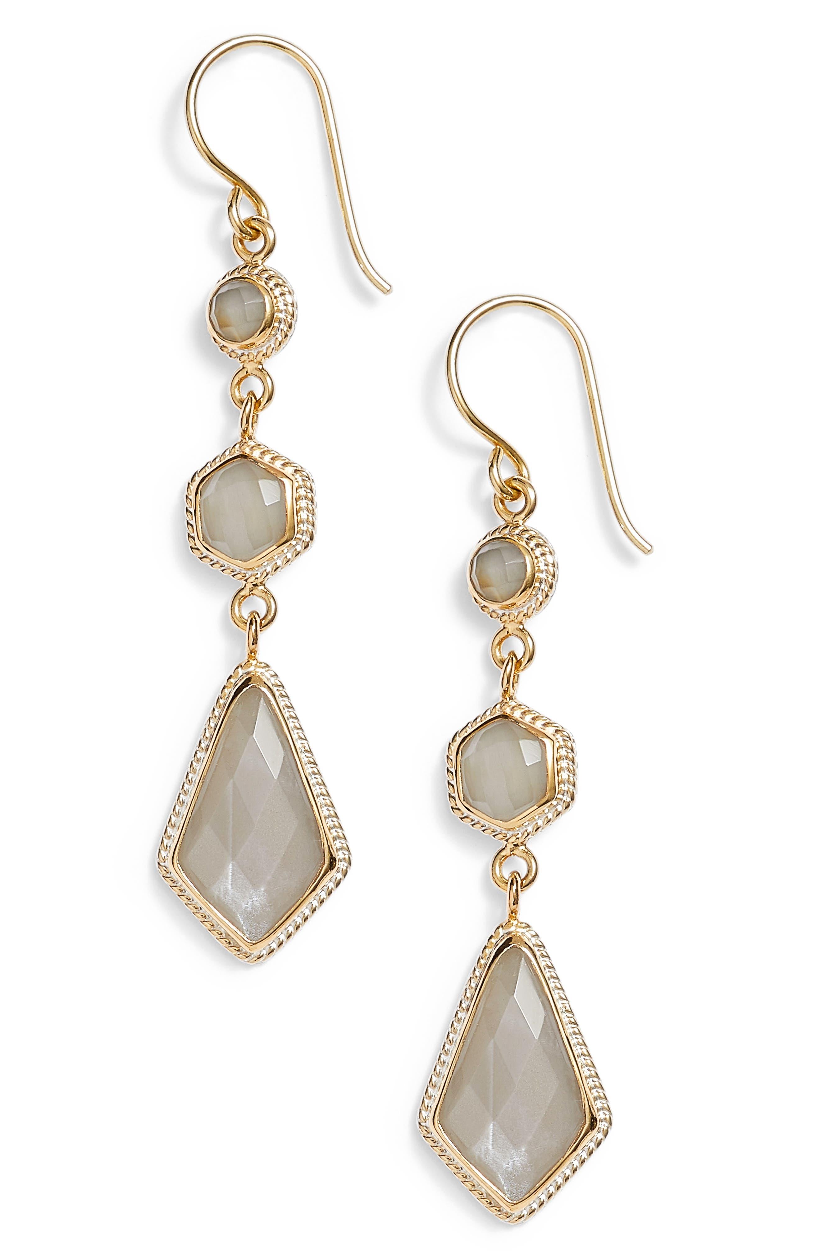 Grey Moonstone Linear Drop Earrings,                         Main,                         color, 020
