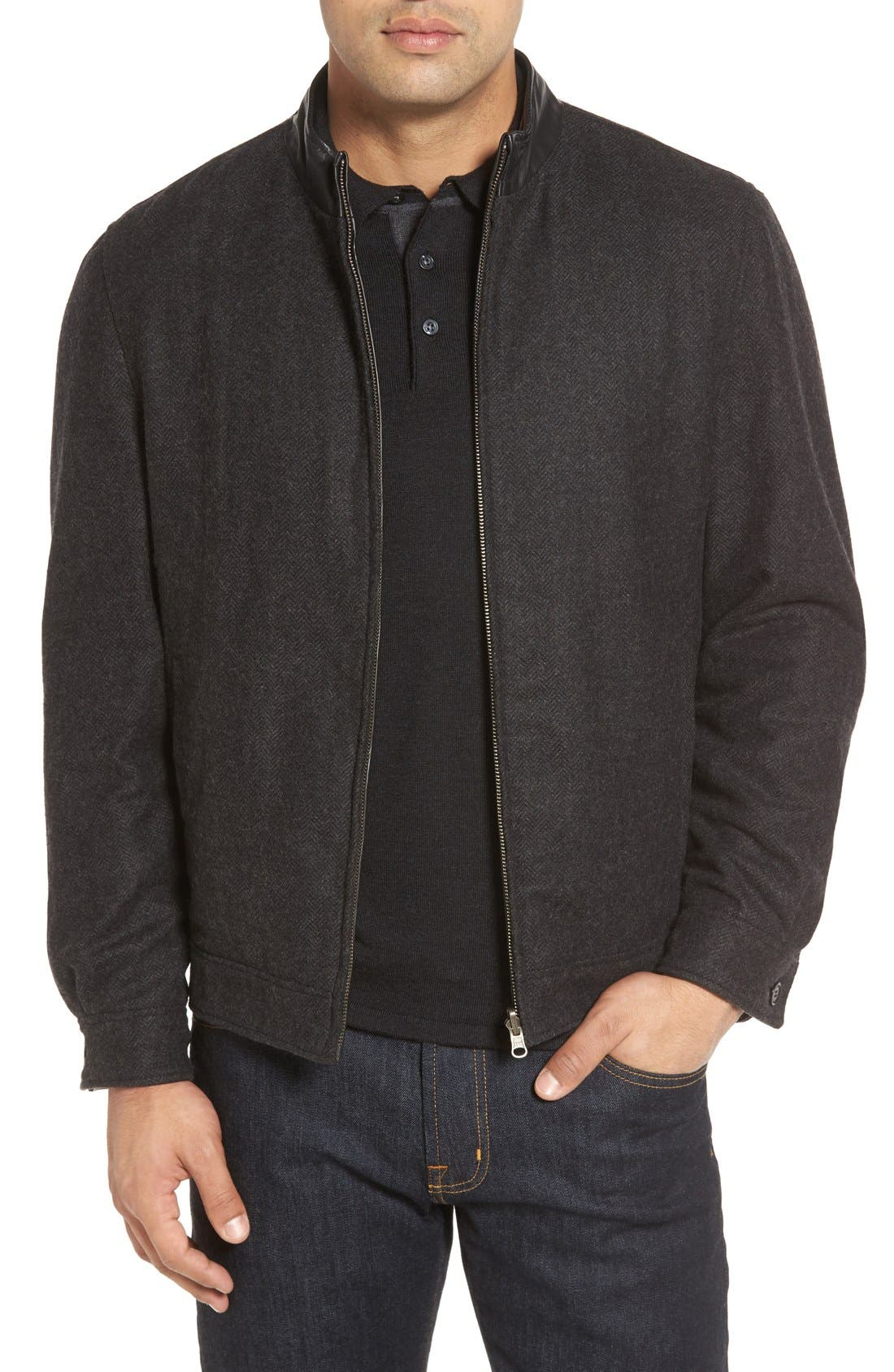 Leather & Wool Reversible Jacket,                             Alternate thumbnail 4, color,                             001