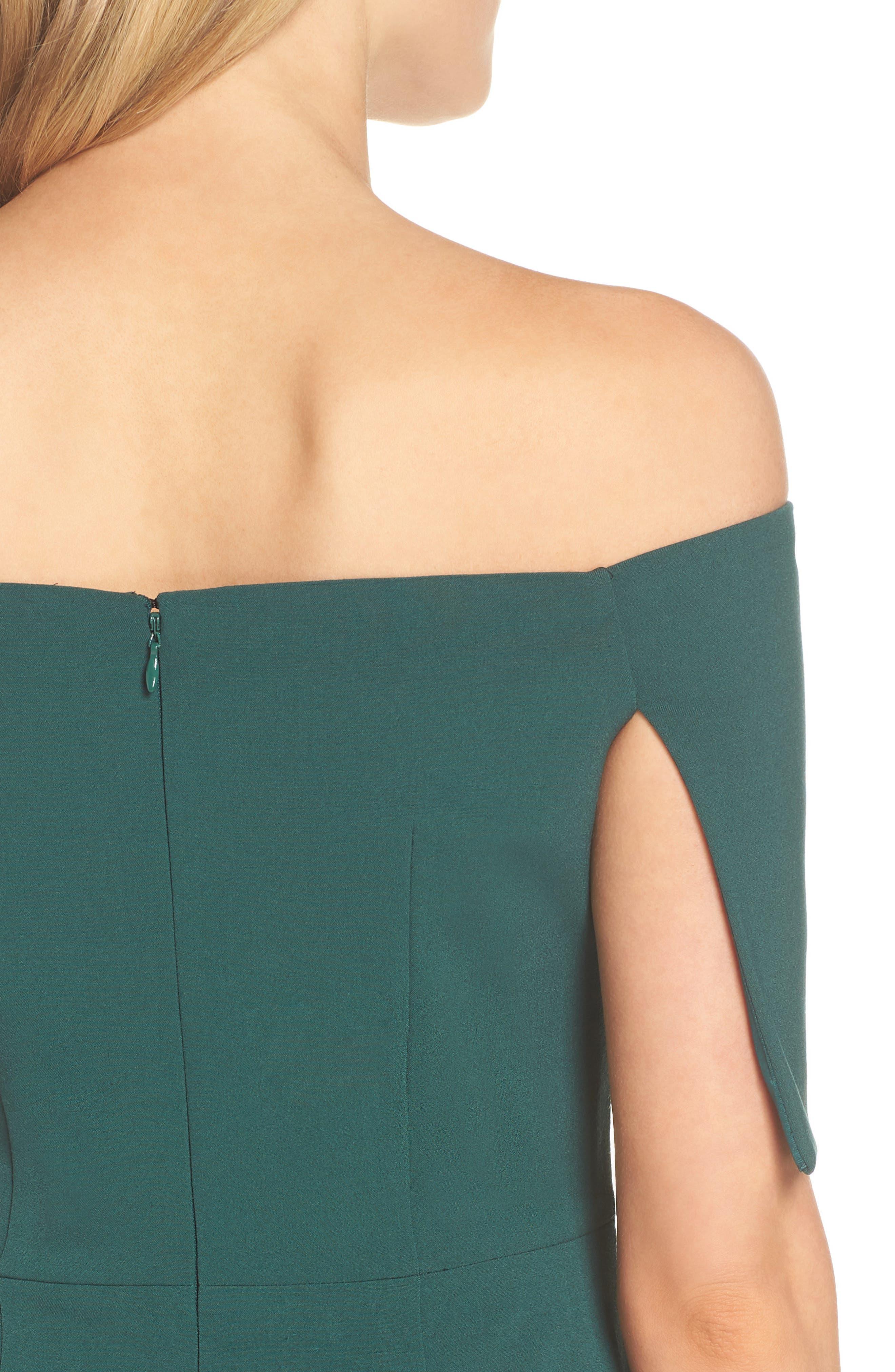 Popover Midi Dress,                             Alternate thumbnail 4, color,                             EMERALD